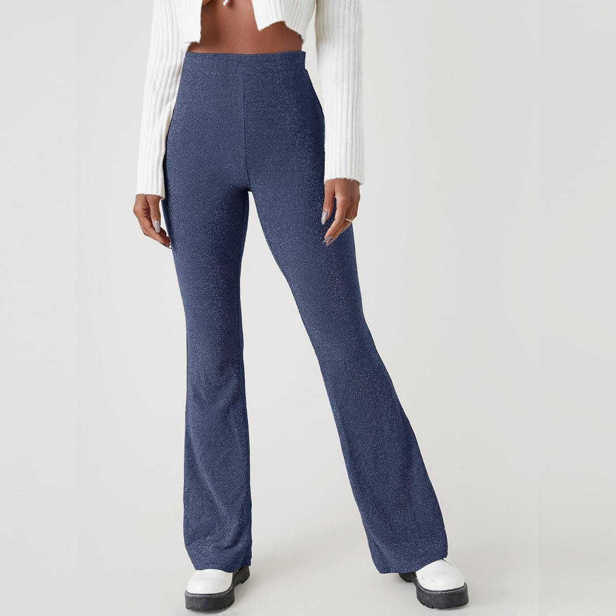 Блестящие брюки-клеш с высокой талией