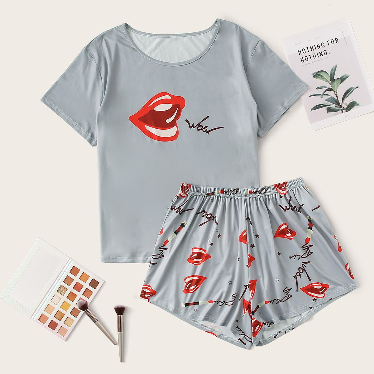 shein Casual Tekst Grote maten pyjama sets
