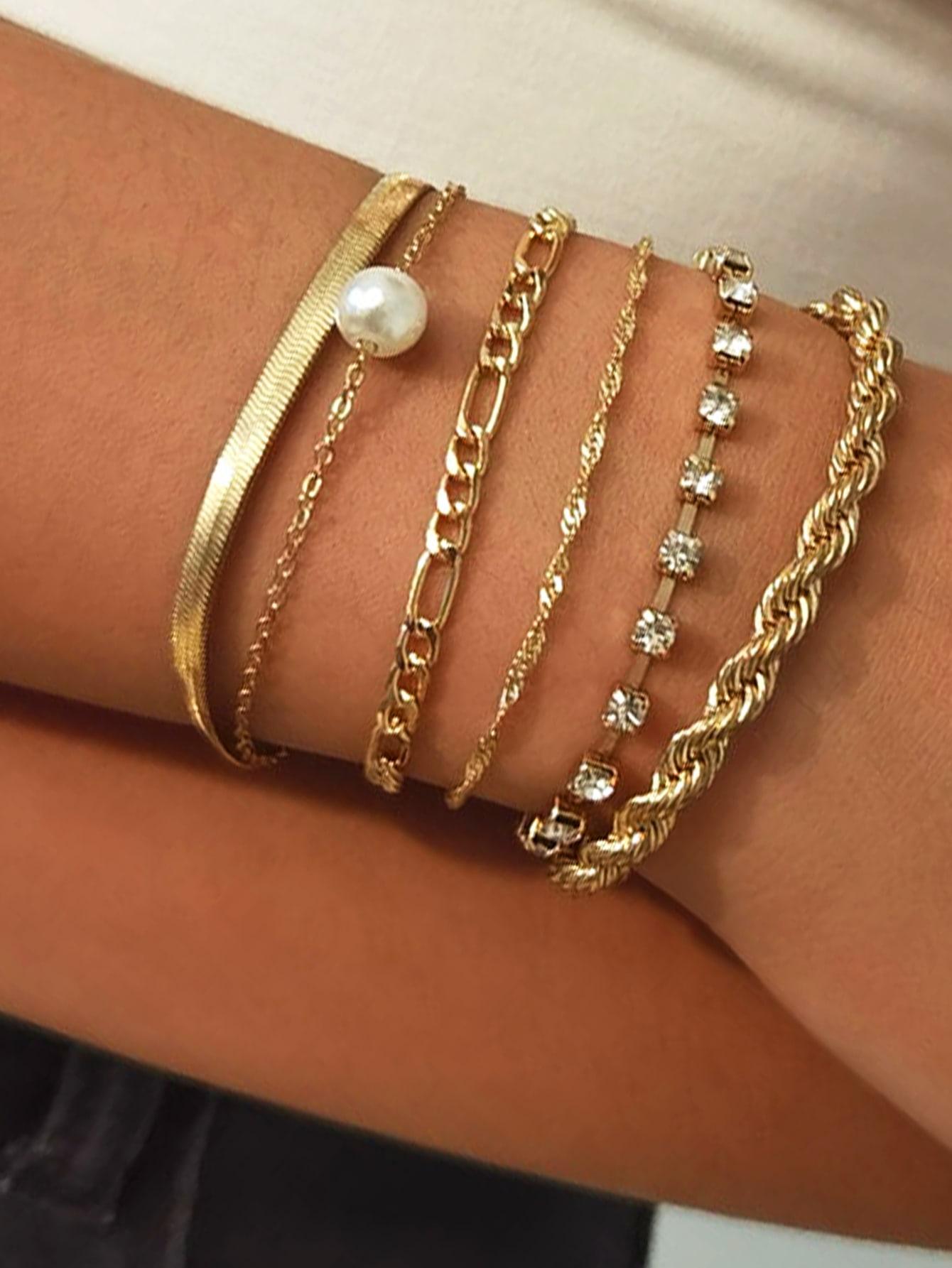 6pcs Faux Pearl Decor Bracelet thumbnail
