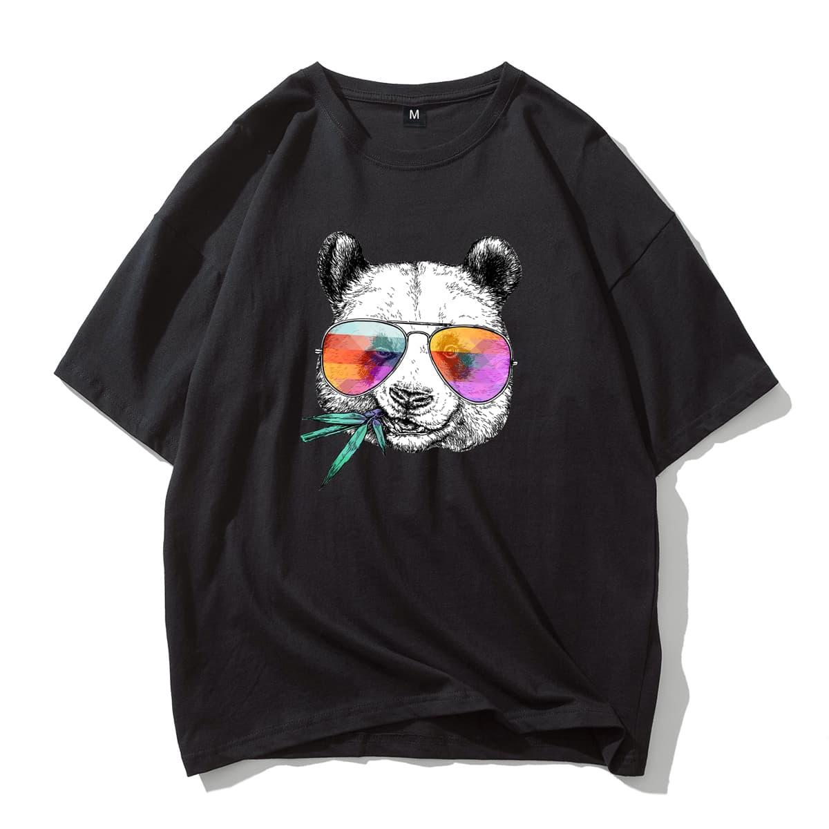 Men Panda Print Drop Shoulder Tee