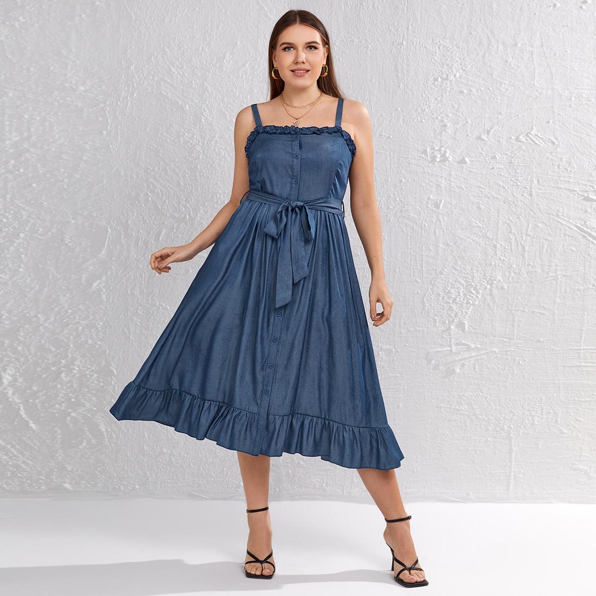 с поясом Одноцветный Повседневный Джинсовые платья размер плюс