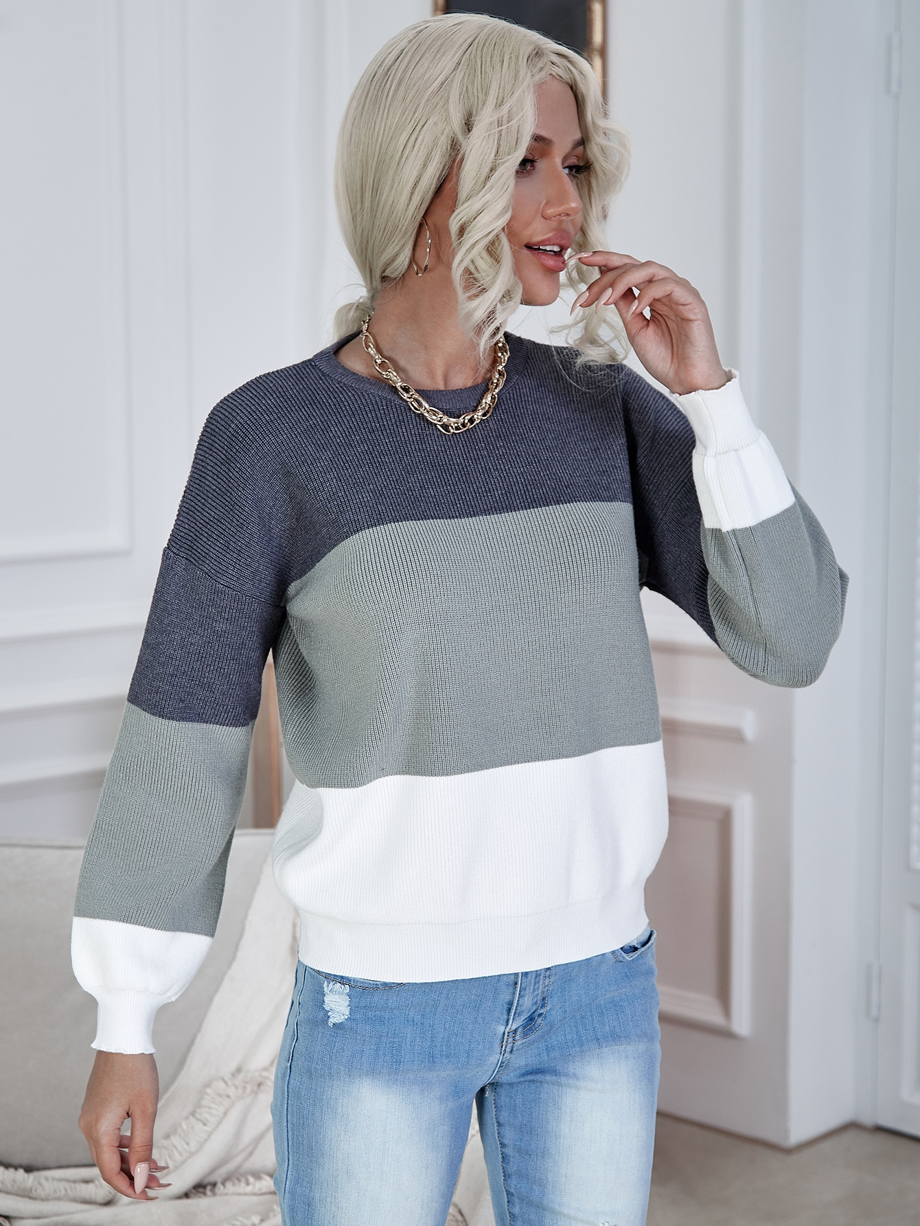 Drop Shoulder Color Block Sweater thumbnail