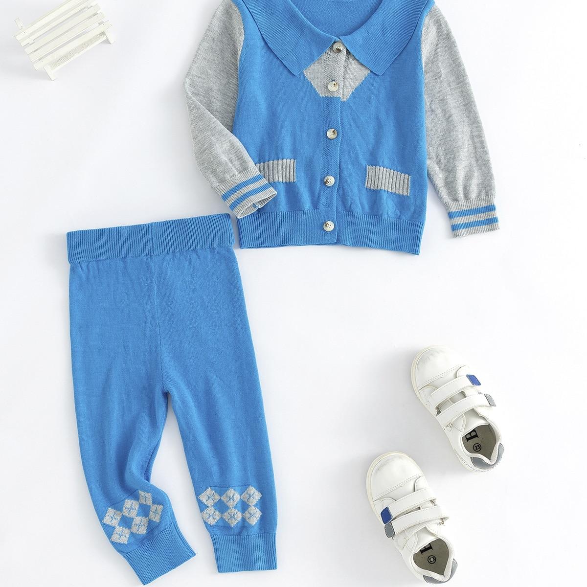 Пуговица полосатый повседневный трикотажные комплекты  для малышей