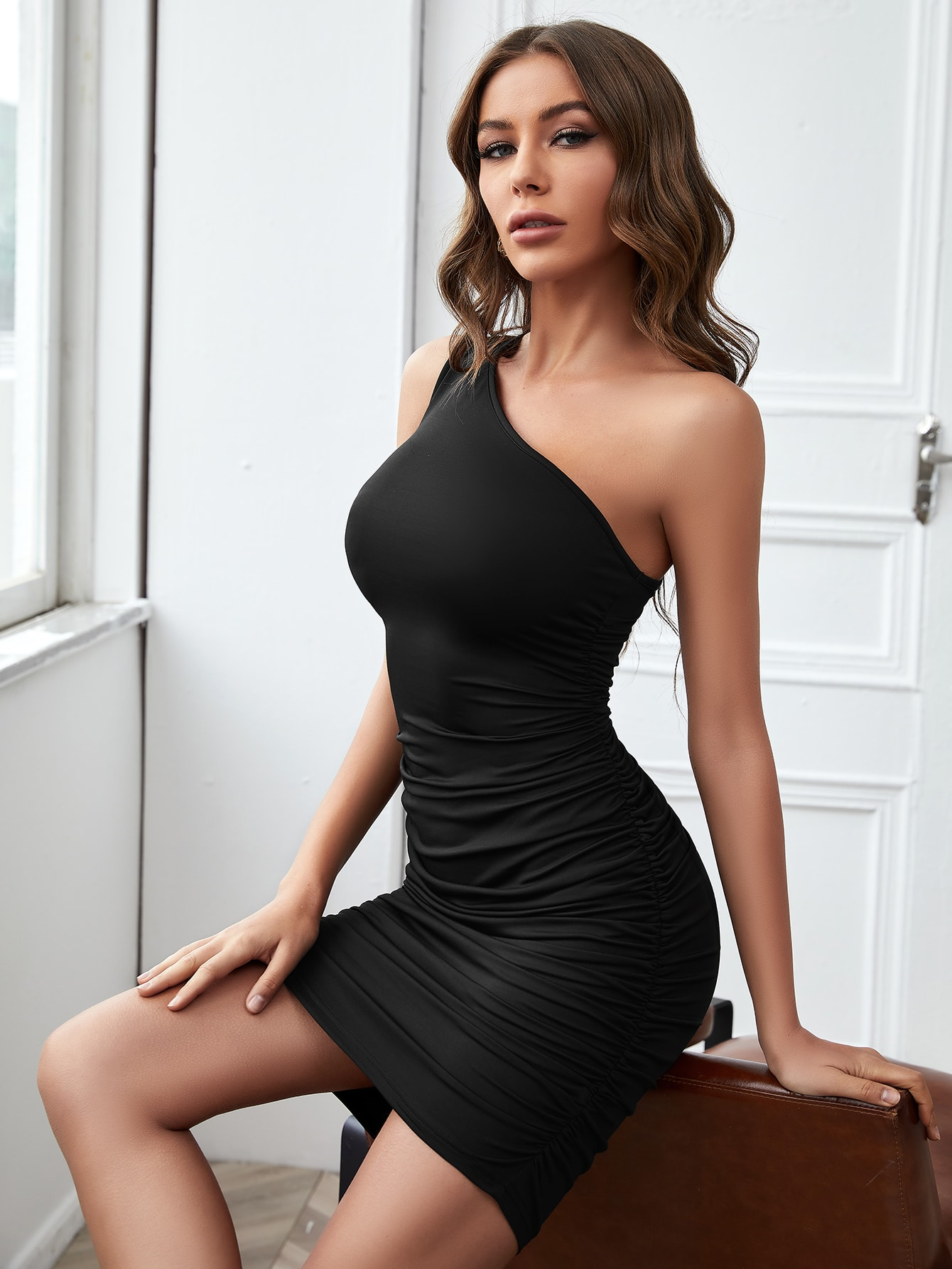 One Shoulder Ruched Bodycon Dress thumbnail