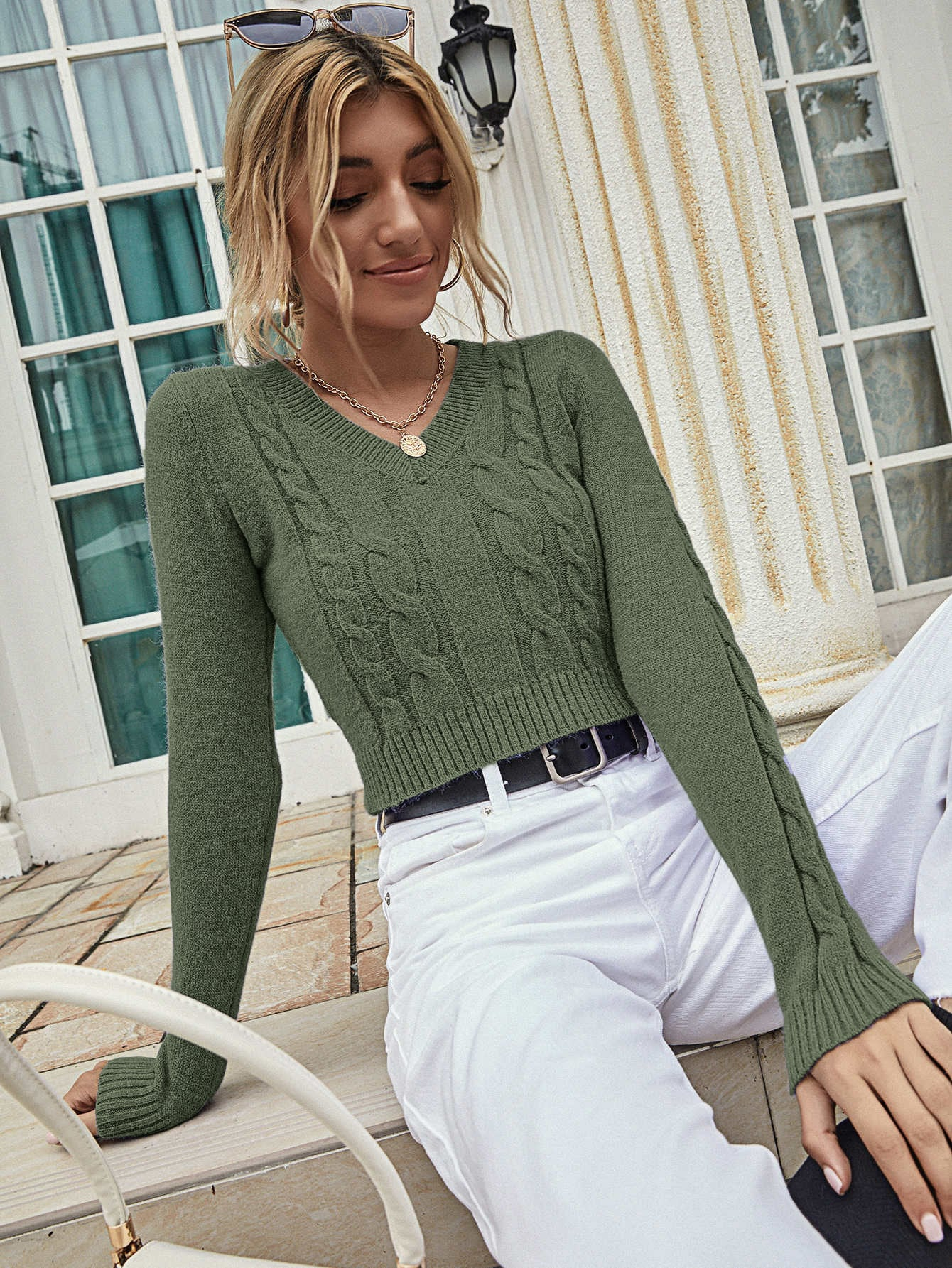 Solid Cable Knit Crop Sweater thumbnail