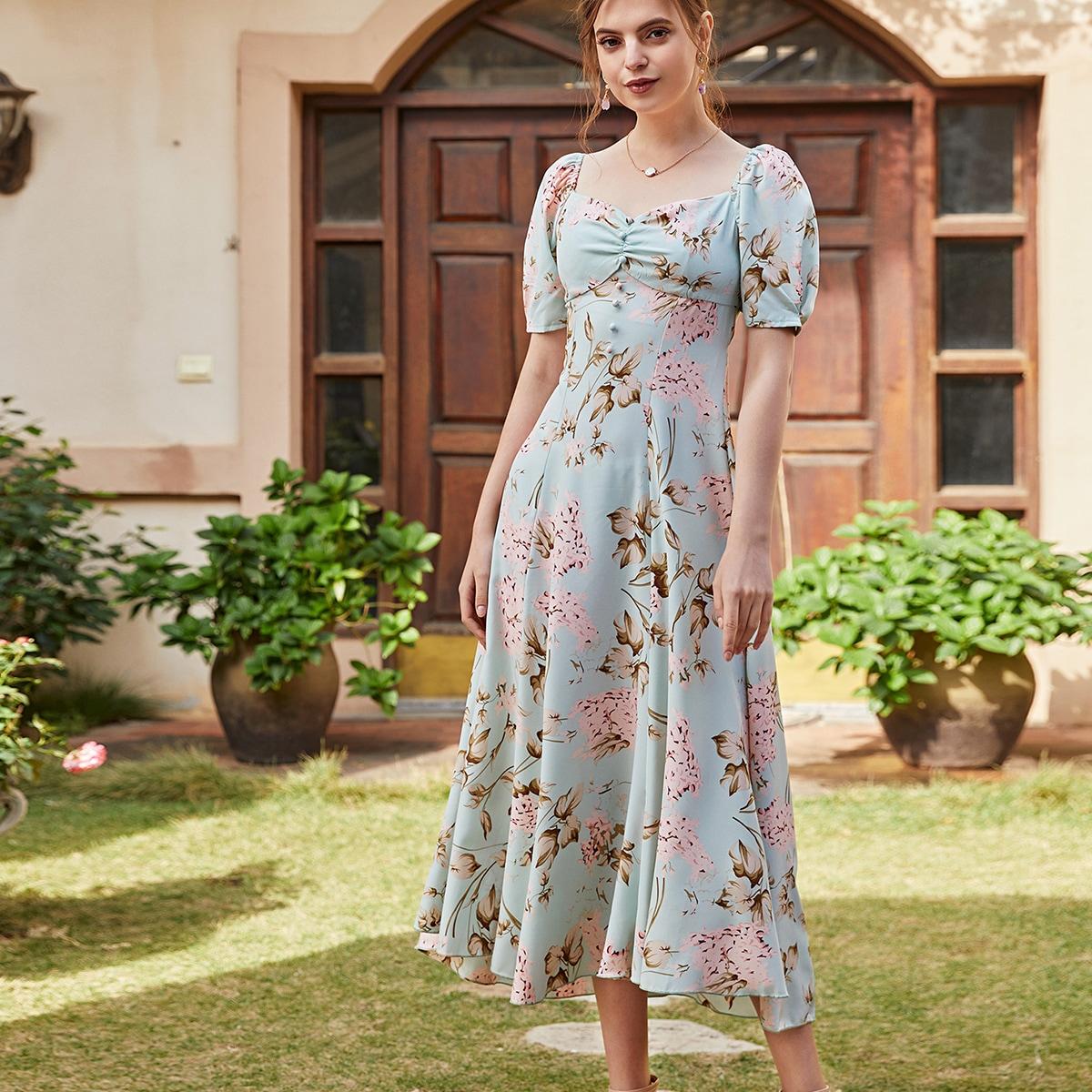 со сборками Цветочный принт Элегантный Платье