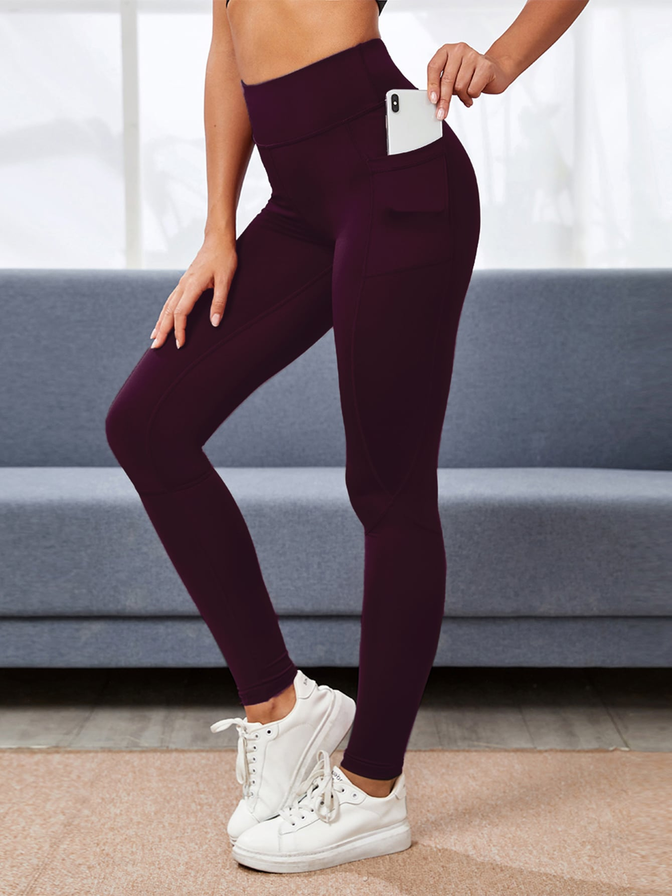 Wide Waistband Sports Leggings With Phone Pocket thumbnail