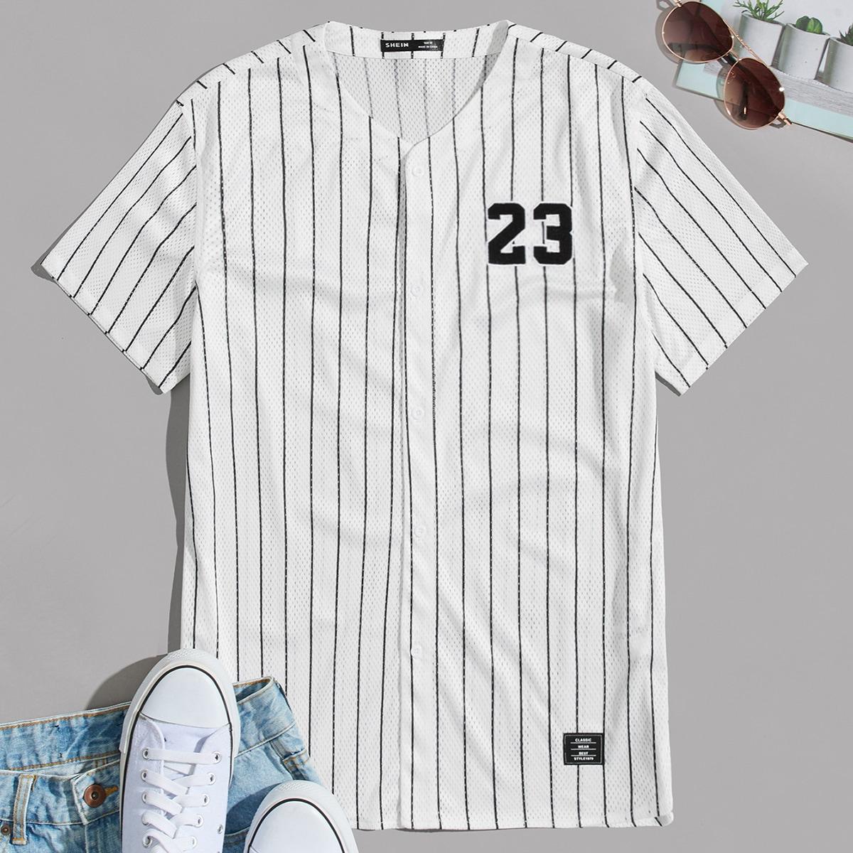 Мужской Рубашка с принтом цифры с заплатой в полоску сетчатый