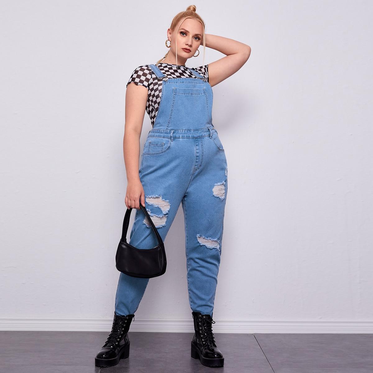 Рваный джинсовый комбинезон размера плюс с карманом