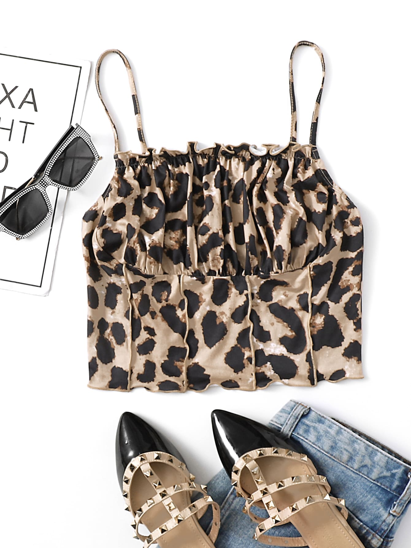 Ruched Bust Frill Detail Leopard Cami Top thumbnail