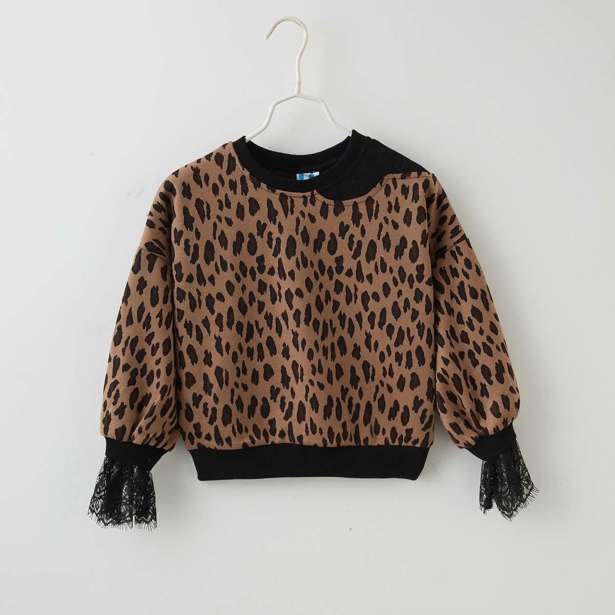 Girls Contrast Lace Leopard Sweatshirt, SHEIN  - buy with discount