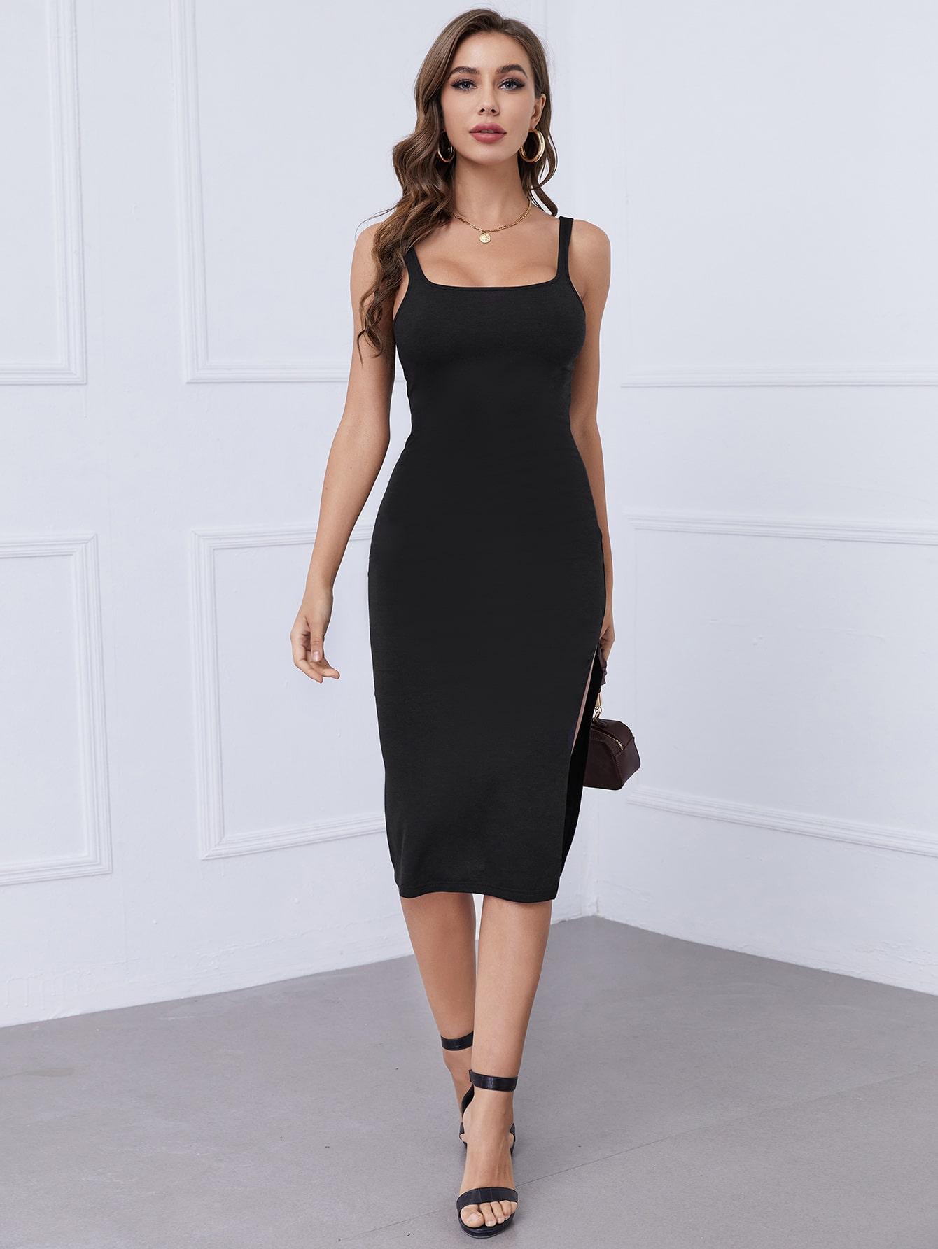 Split Thigh Solid Dress thumbnail