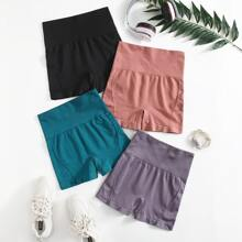 4pcs Seamless Minimizes Bounce Absorbs Sweat Breathable Sports Shorts