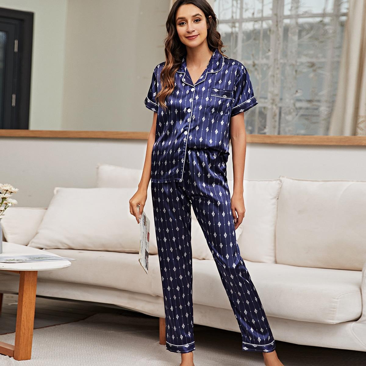 с карманами Принт Элегантный Комплект пижамы