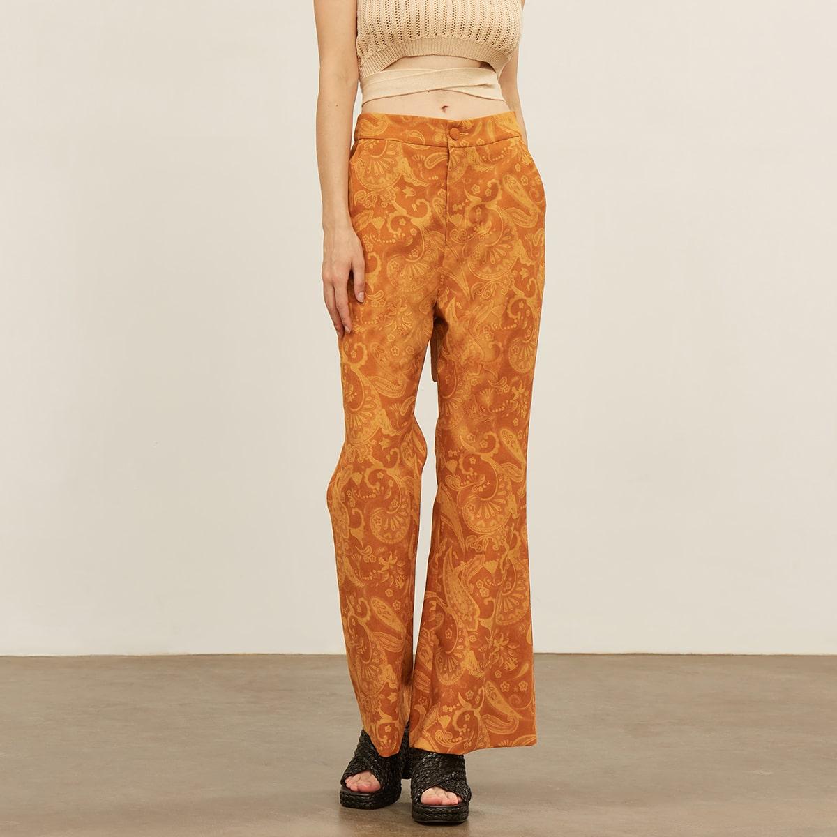 Вельветовые брюки-клеш с принтом
