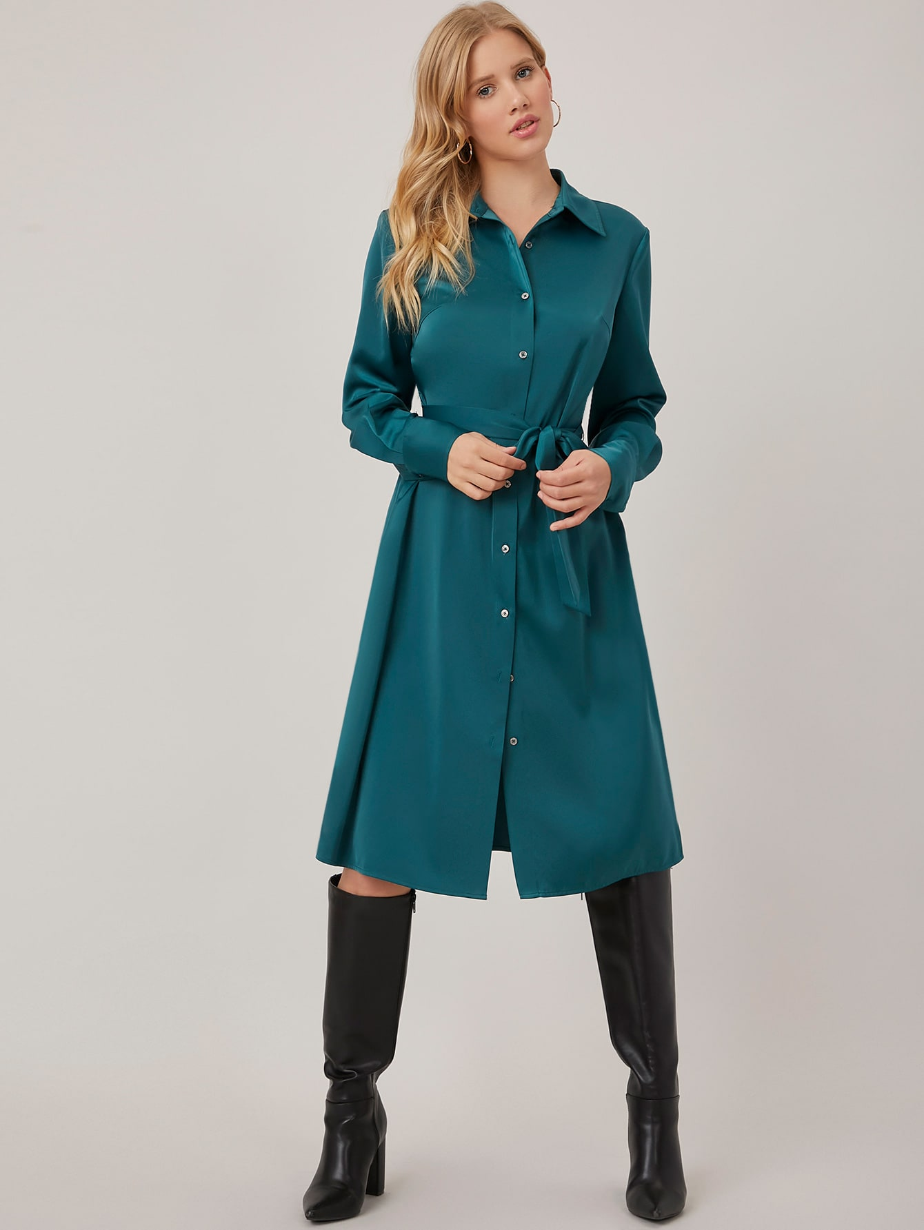 STRAIGHT FIT BELTED SHIRT DRESS thumbnail
