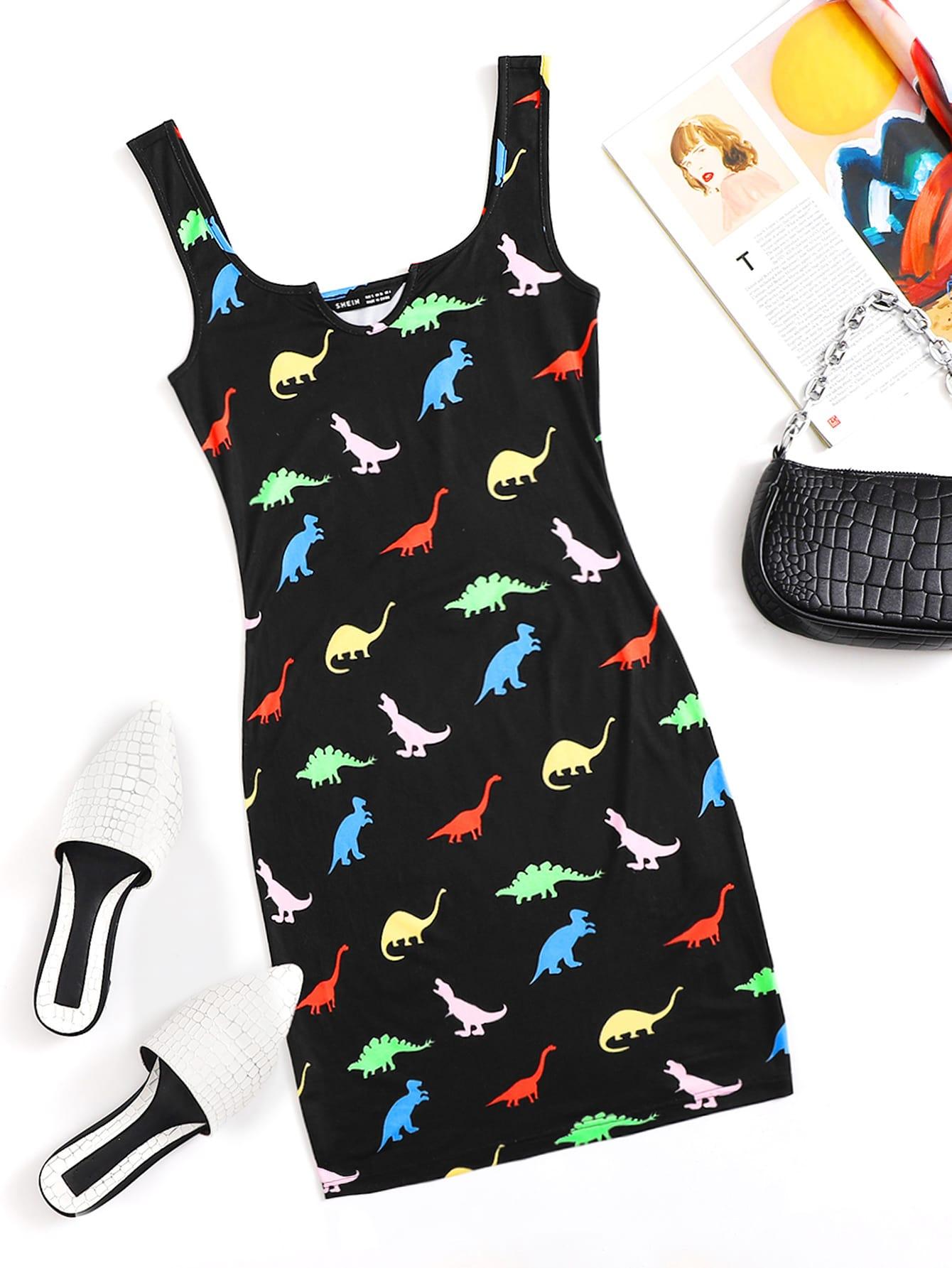 Dinosaur Print Notch Neck Dress thumbnail