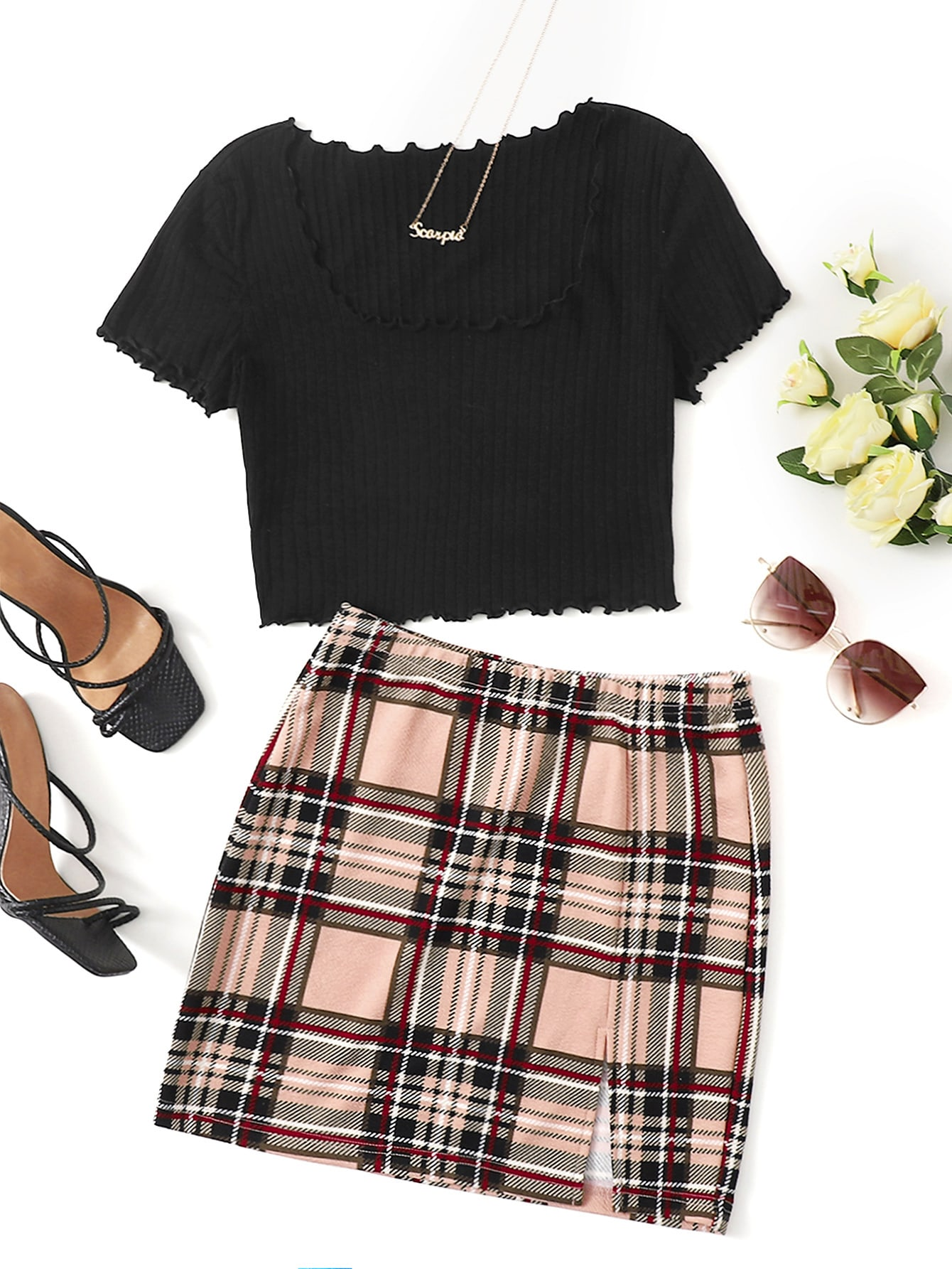 Scoop Neck Lettuce Trim Crop Tee & Split Hem Plaid Skirt Set thumbnail