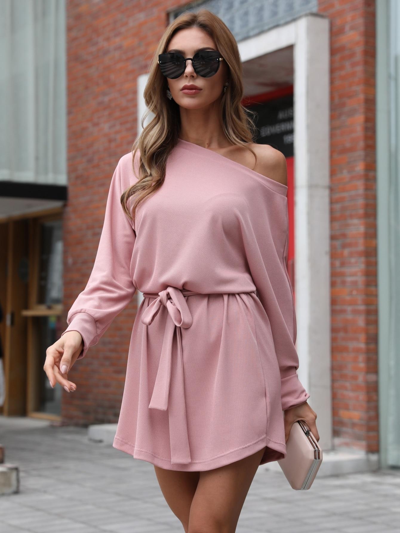 Asymmetrical Neck Belted Dress thumbnail