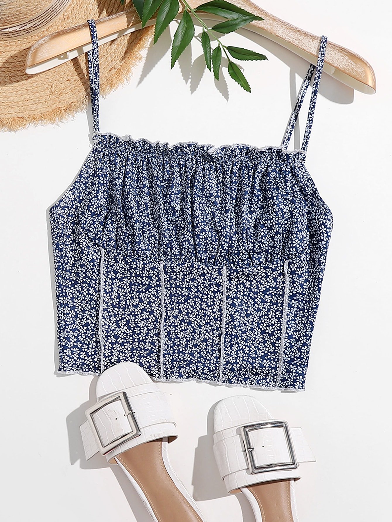 Ruched Bust Stitch Trim Ditsy Floral Cami Top thumbnail