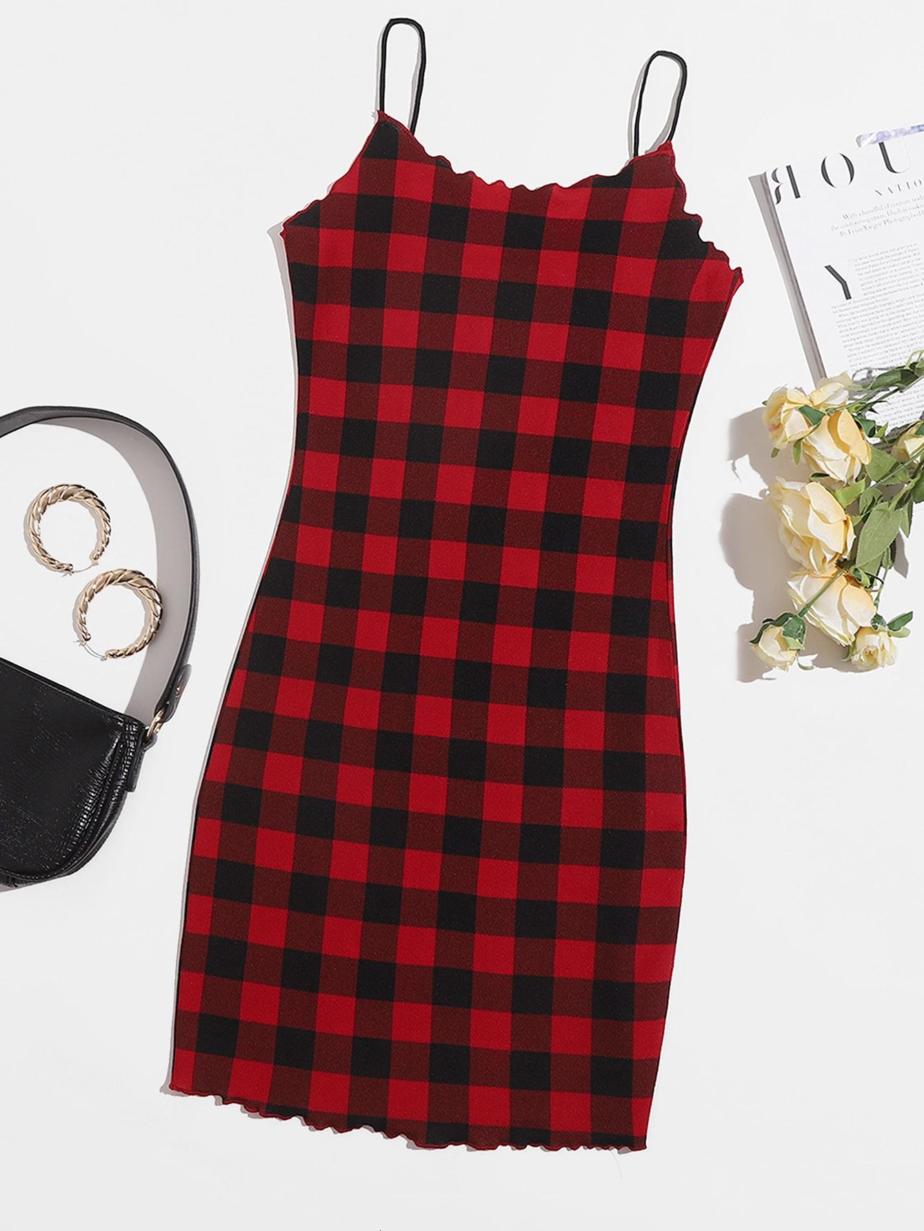 Lettuce Trim Buffalo Plaid Bodycon Dress thumbnail