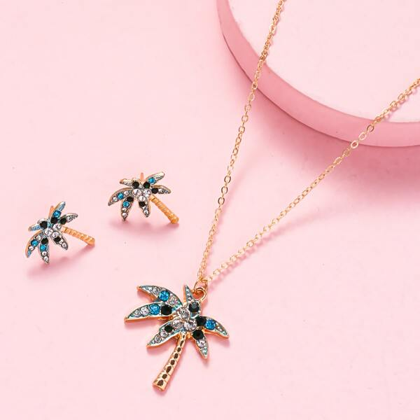1pc Coconut Tree Charm Necklace & 1pair Stud Earrings, Gold