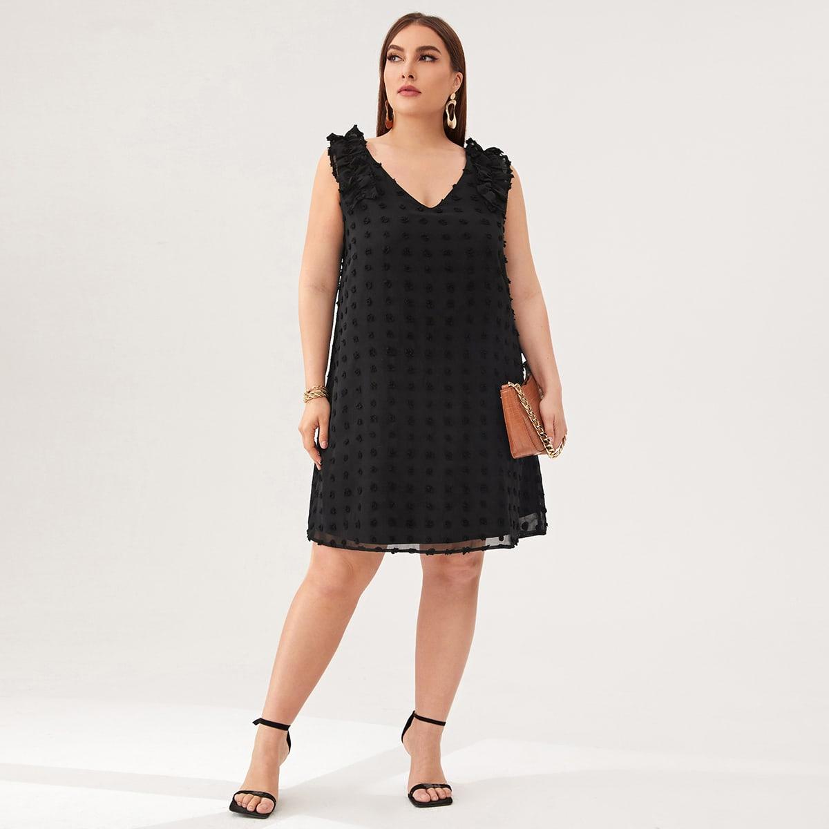 Оборка Одноцветный Элегантный Платья размер плюс