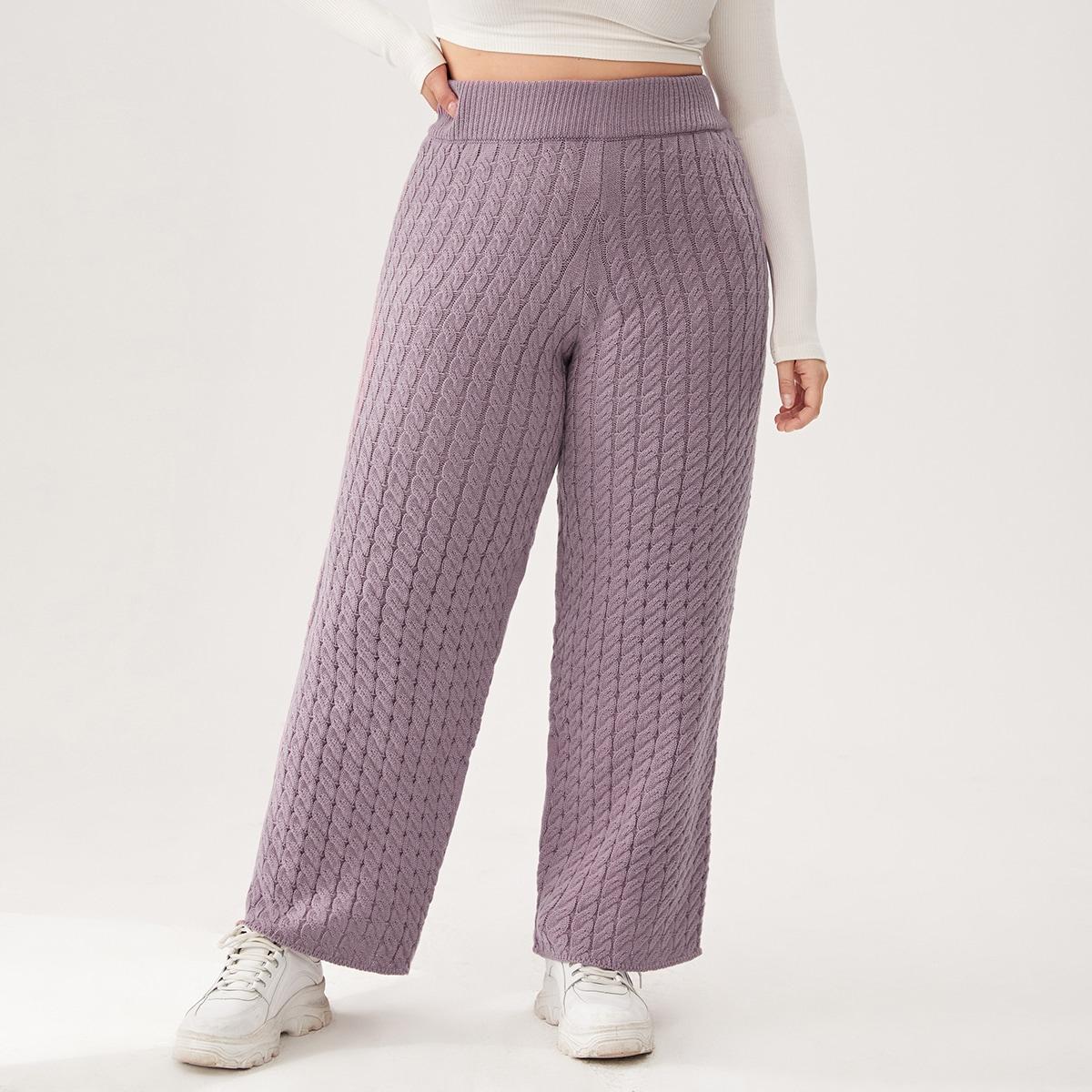 Одноцветный повседневный трикотажные брюки размер плюс