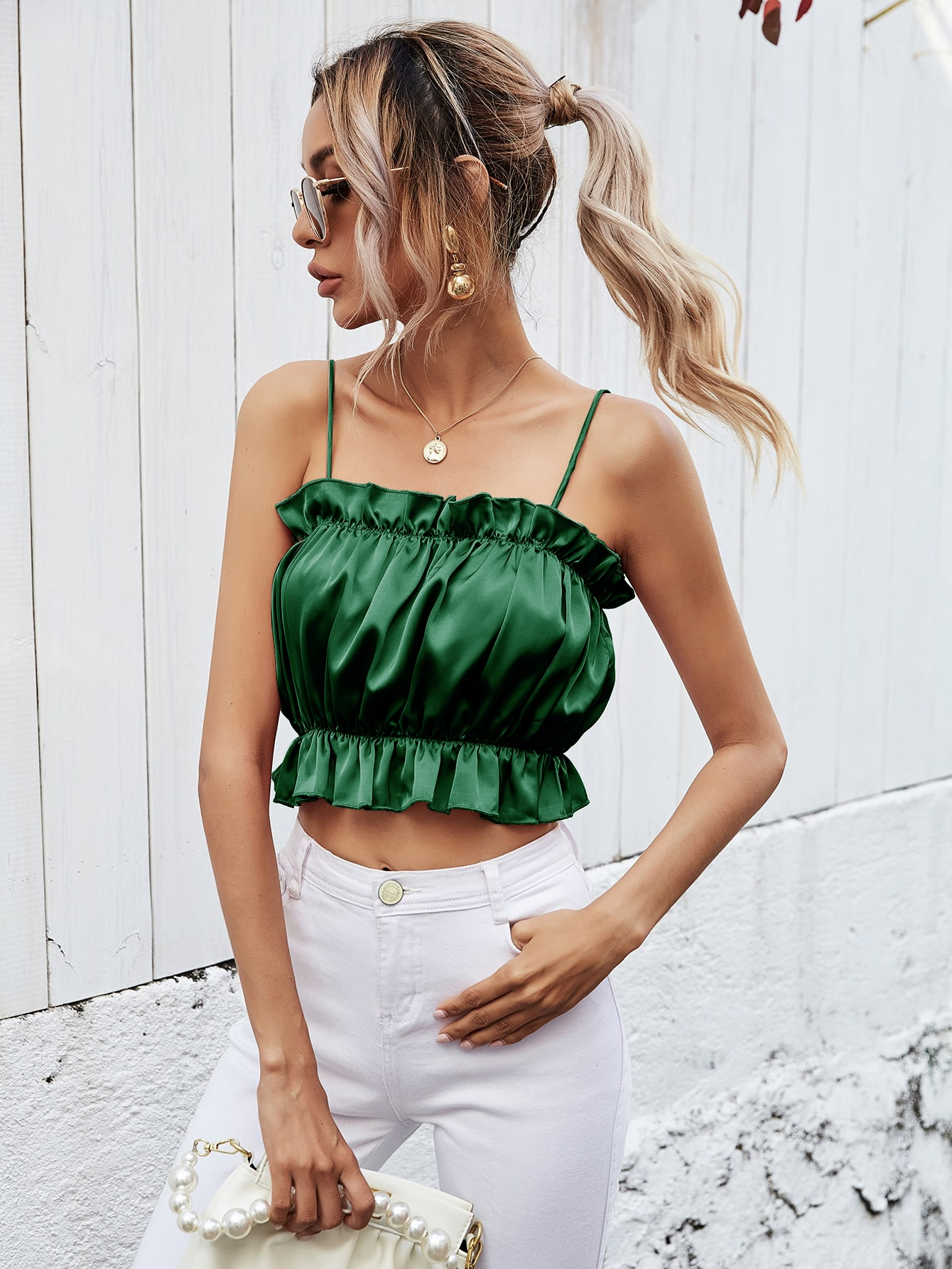 Frill Trim Ruched Bust Cami Top thumbnail