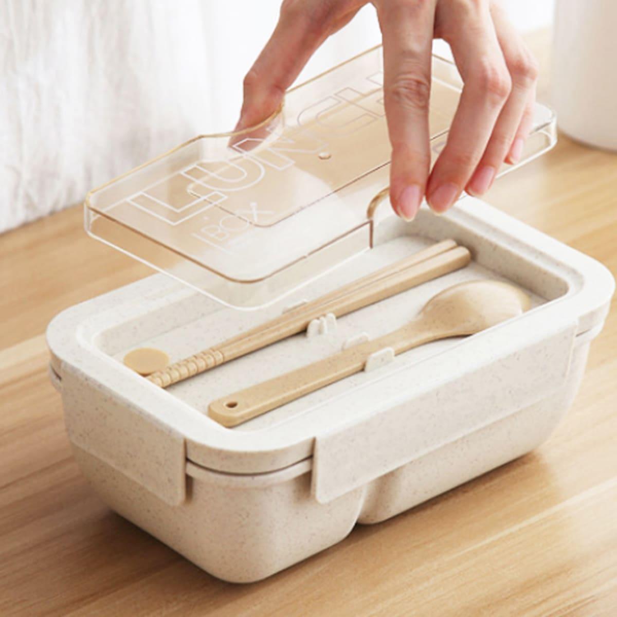 1 Stück tragbare Essenbox mit Besteck