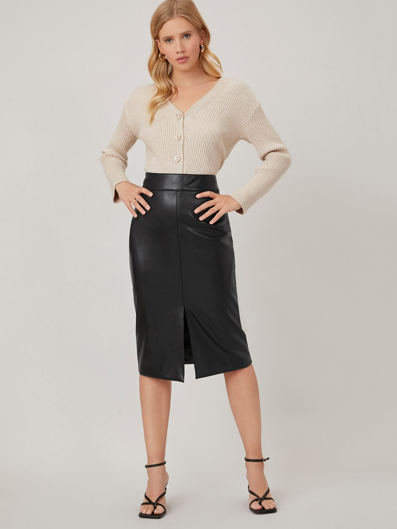 PU LEATHER SLIT SKIRT thumbnail