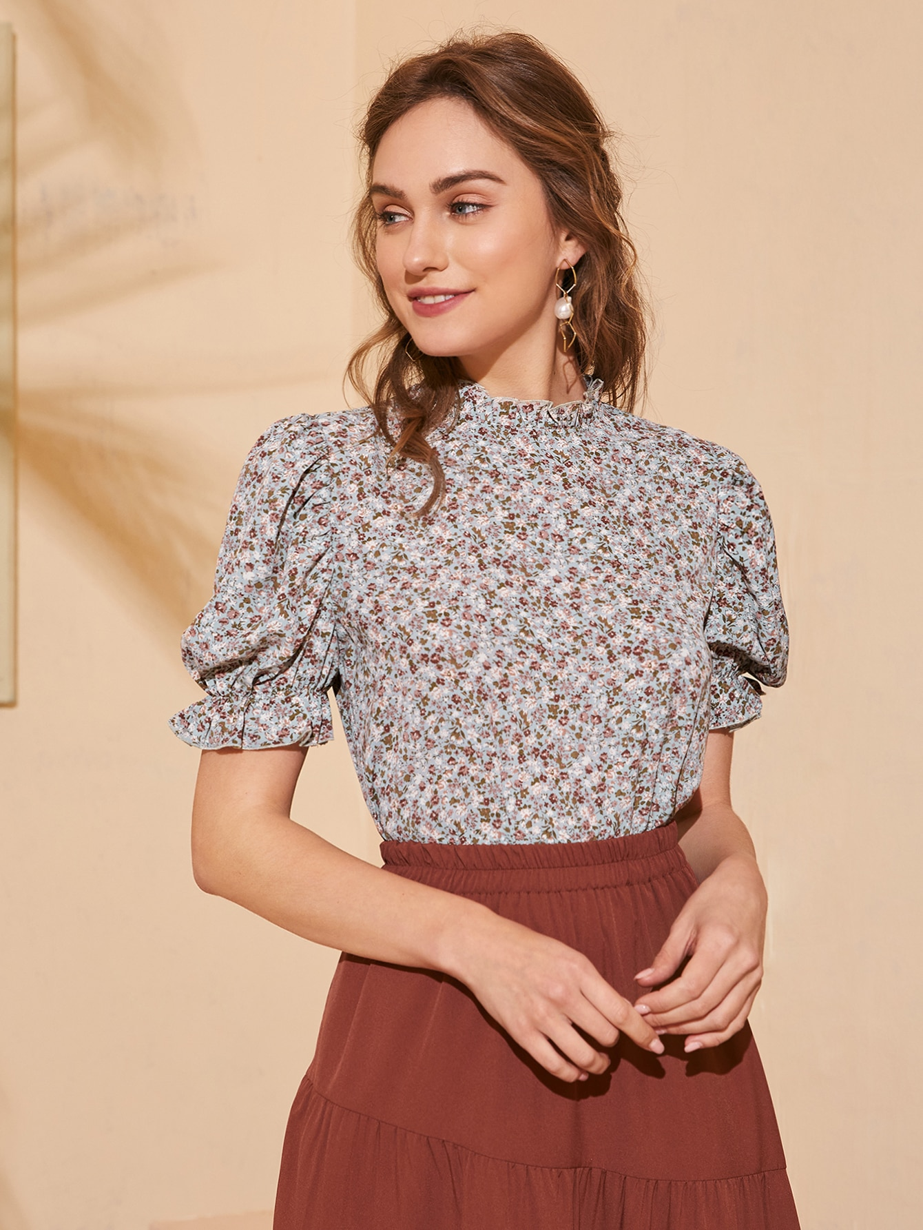 Frilled Neck Puff Sleeve Ditsy Floral Top thumbnail