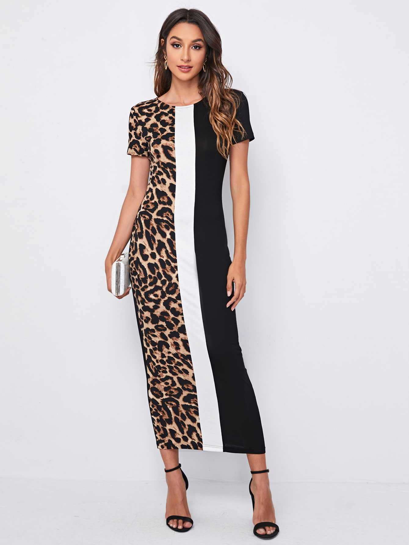Leopard Panel Colorblock Fitted Dress thumbnail