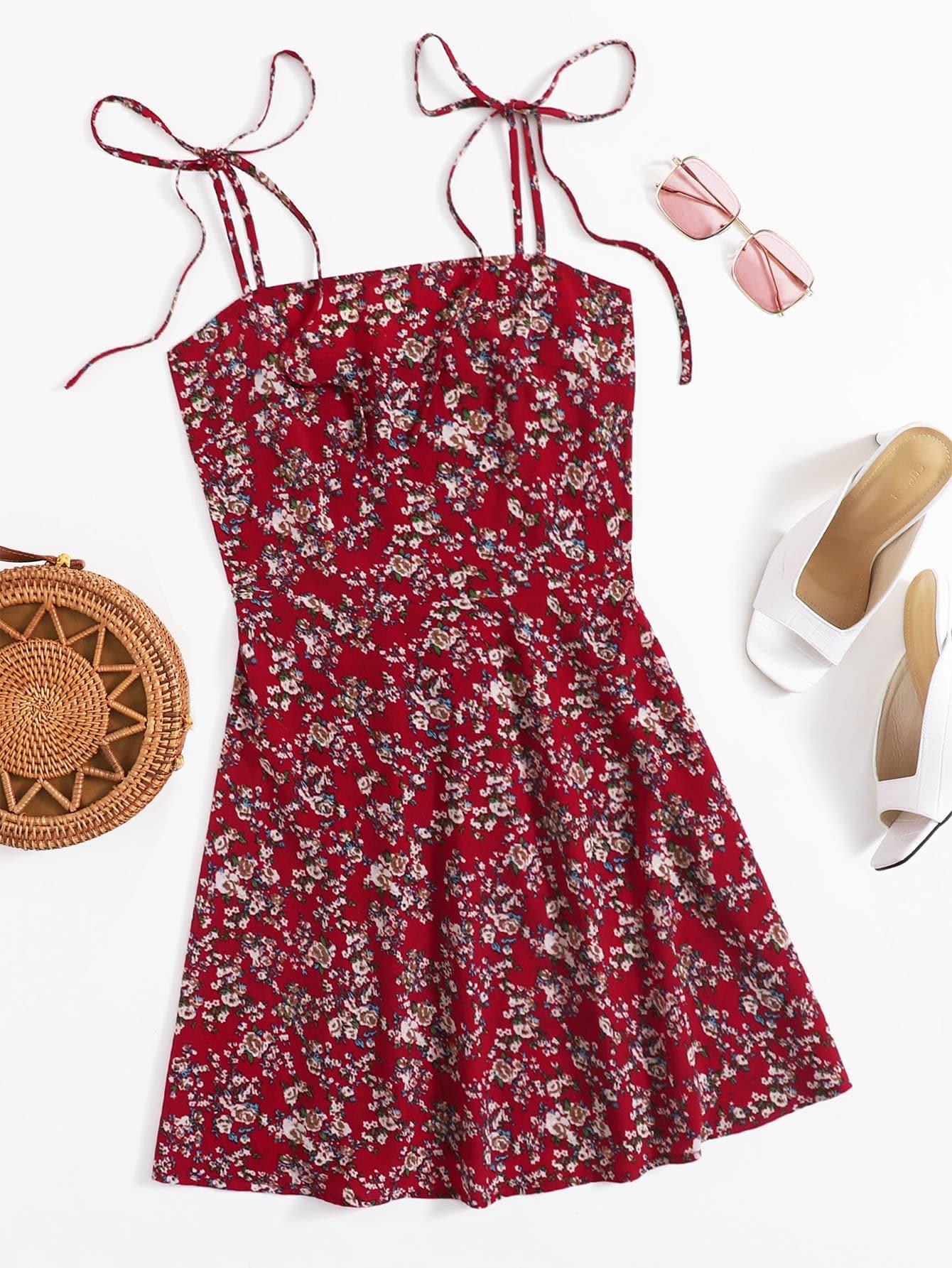 Ditsy Floral Tie Shoulder Cami Dress thumbnail