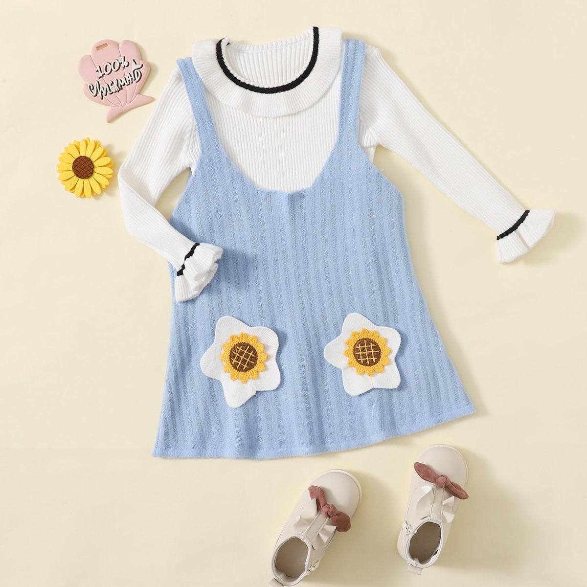 С оборками со цветочками милый трикотажные комплекты для девочек