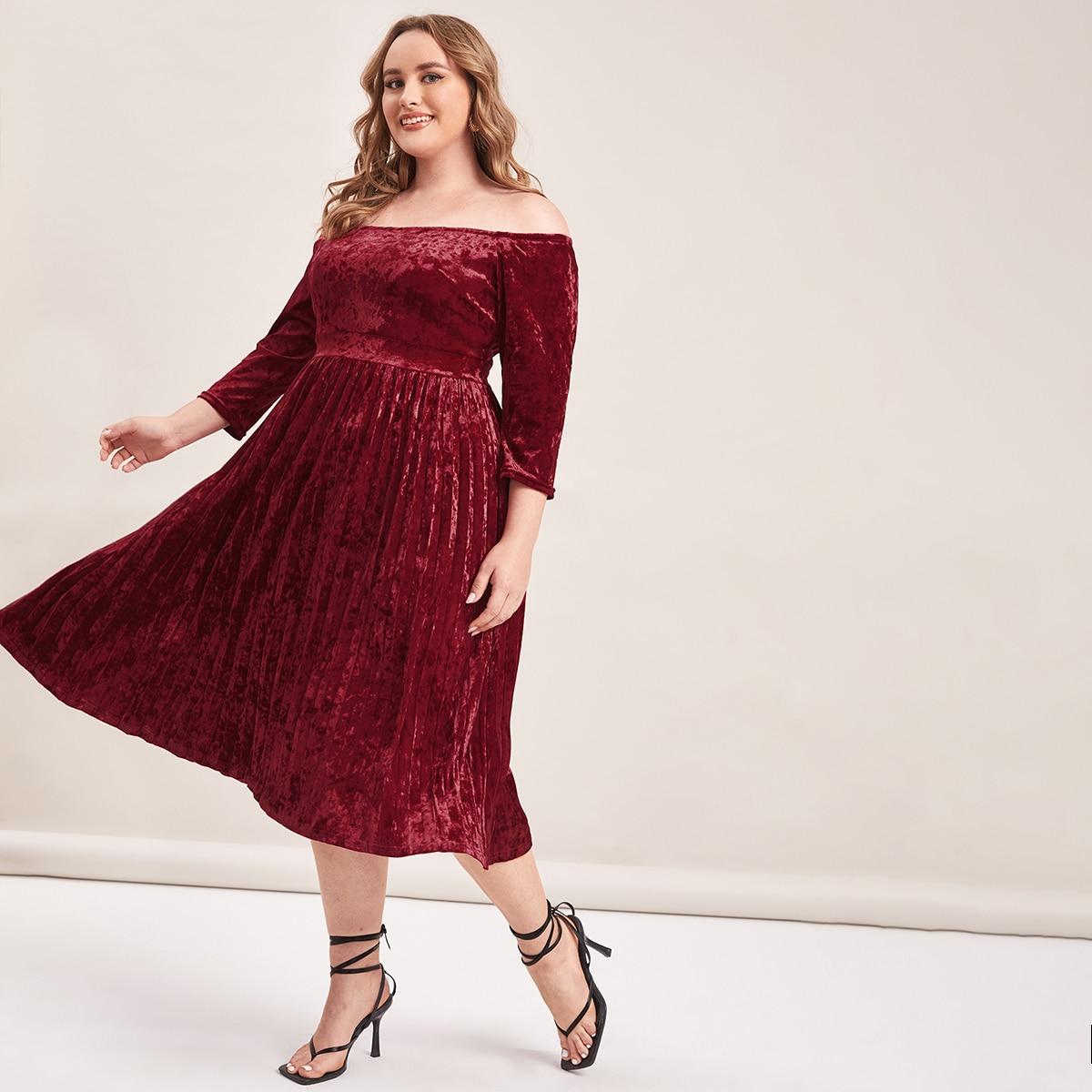 плиссированное Одноцветный Элегантный Платья размер плюс