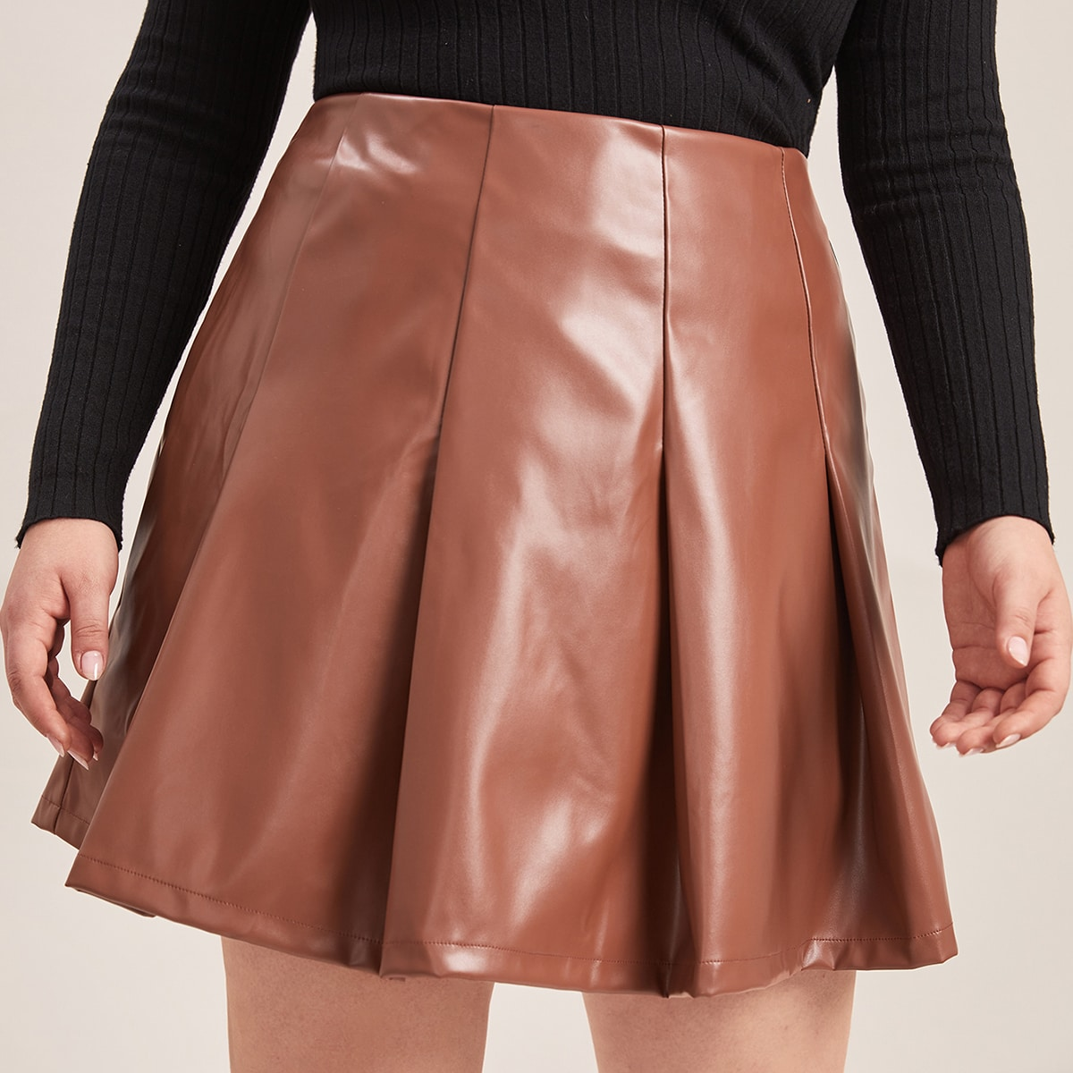 Plus Zipper Back PU Pleated Skirt, SHEIN  - buy with discount