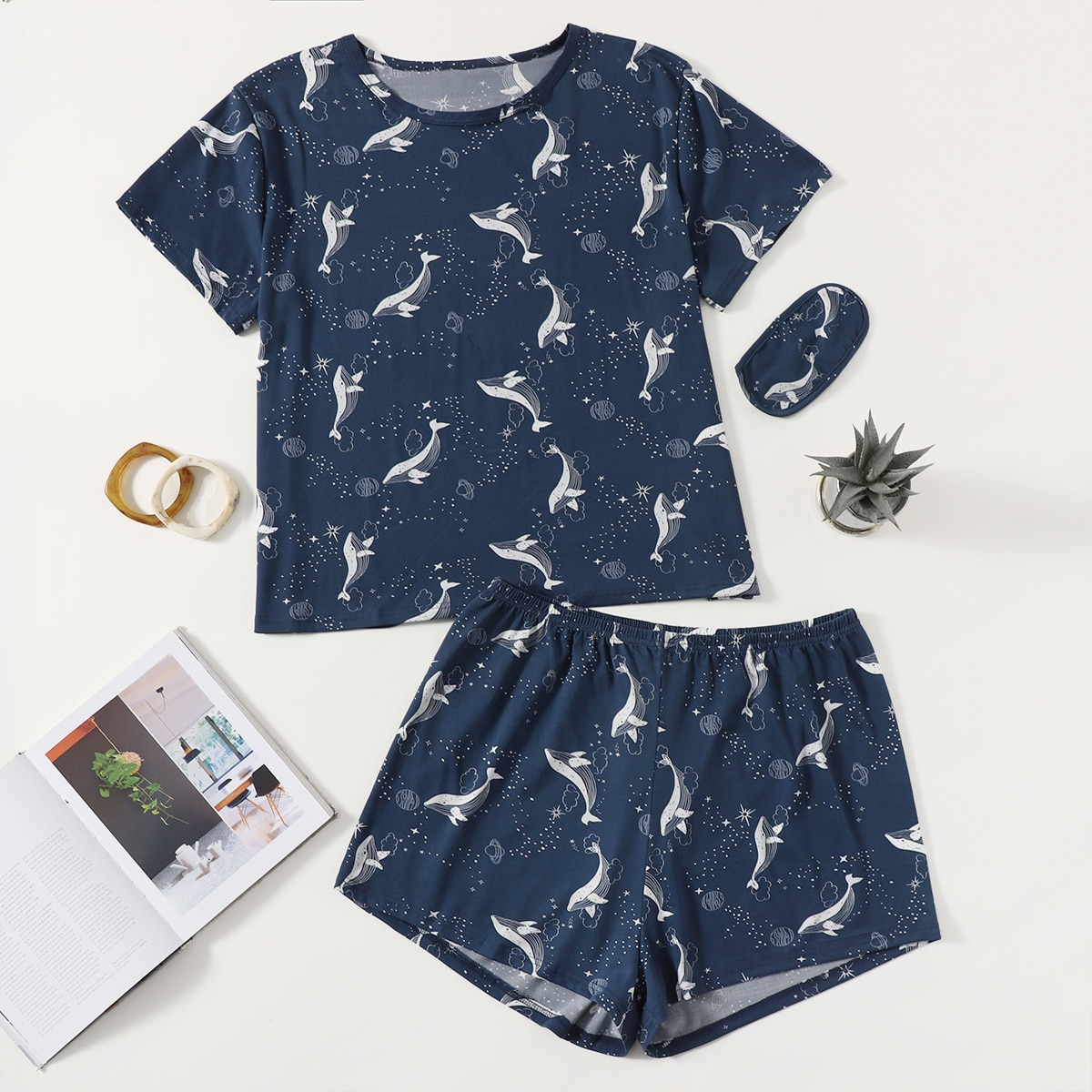 Plus Whale And Galaxy Print Pajama Set With Eye Cover, SHEIN  - buy with discount