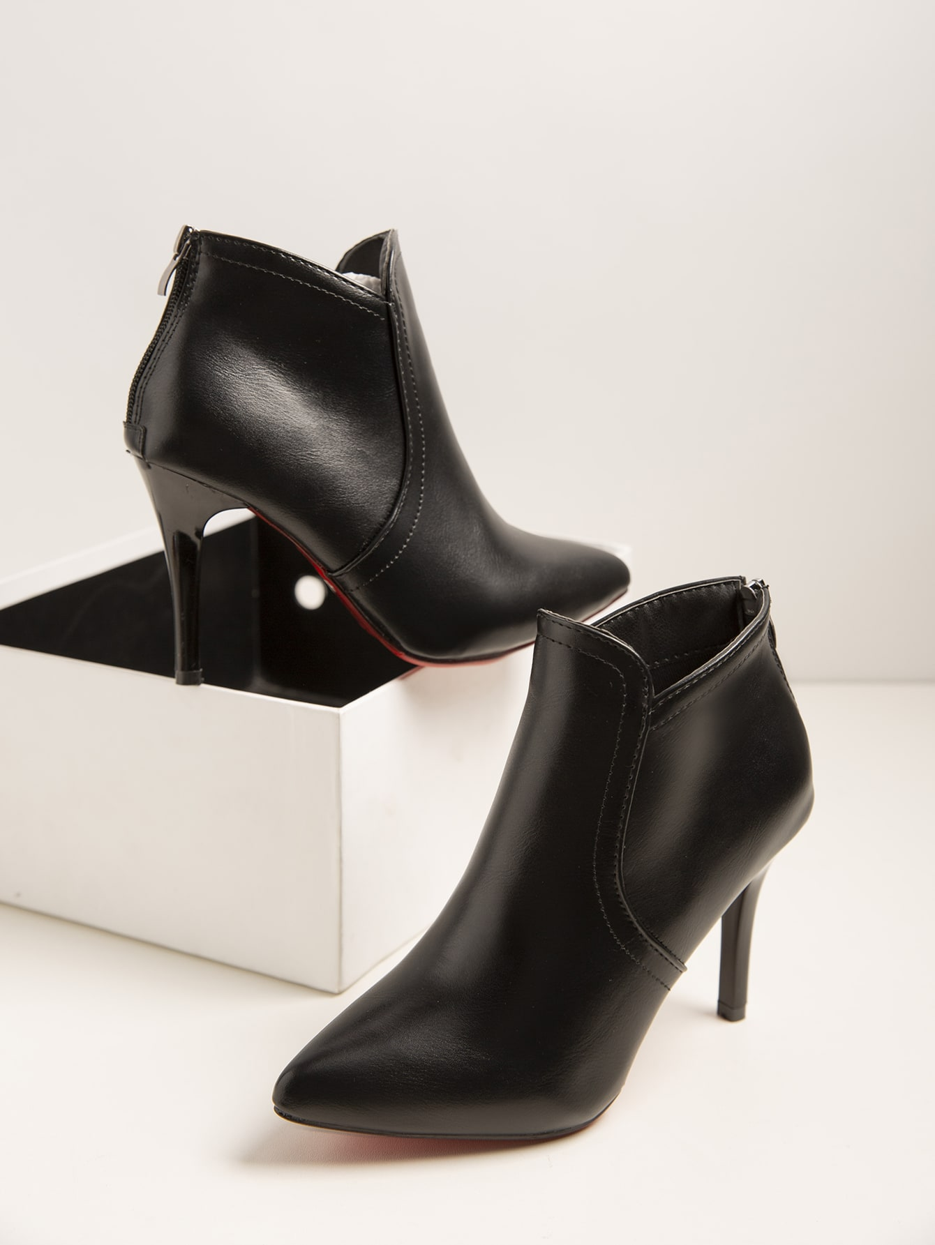 Point Toe Stiletto Heeled Ankle Boots