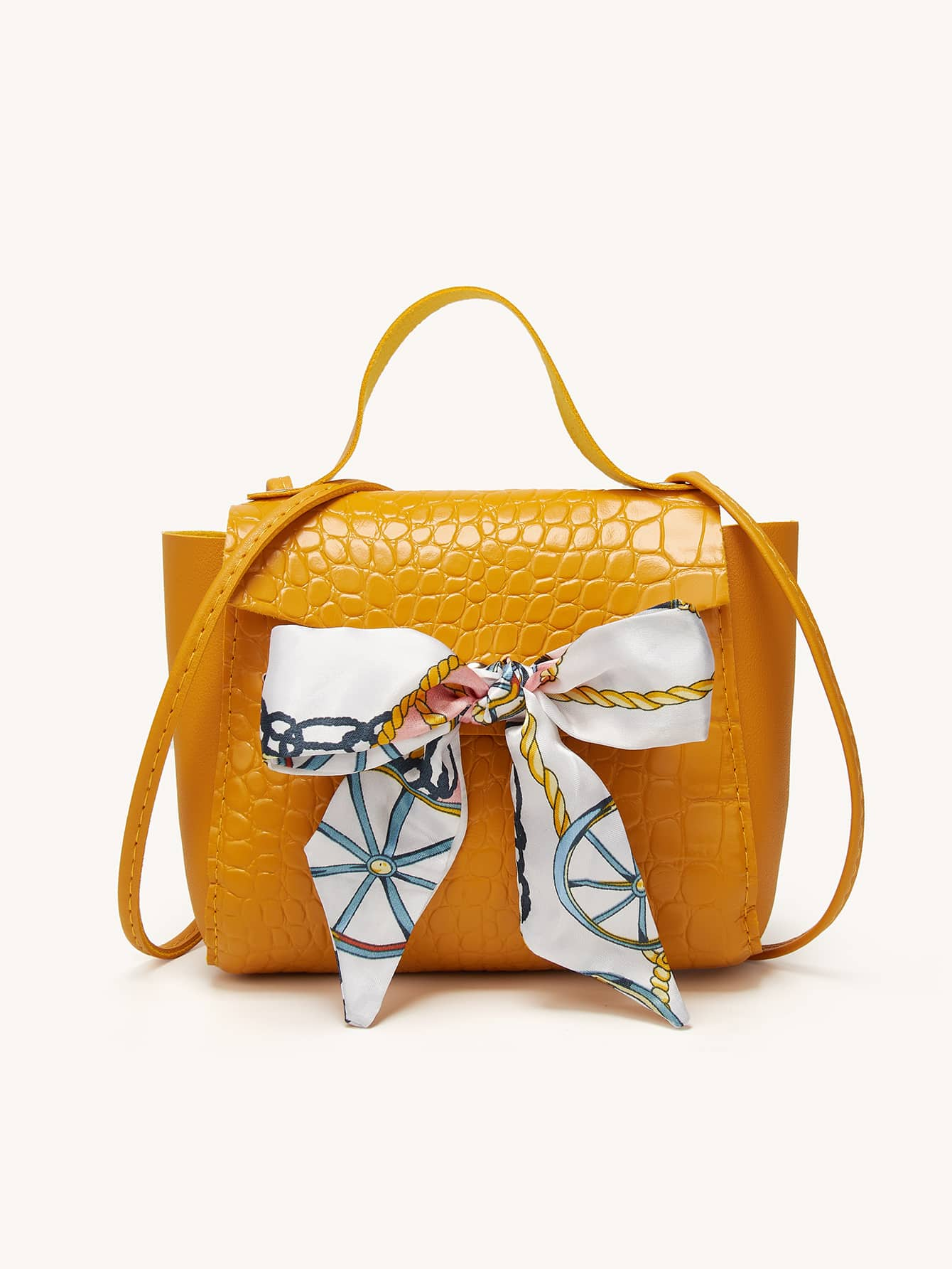 Twilly Scarf Decor Croc Embossed Satchel Bag thumbnail