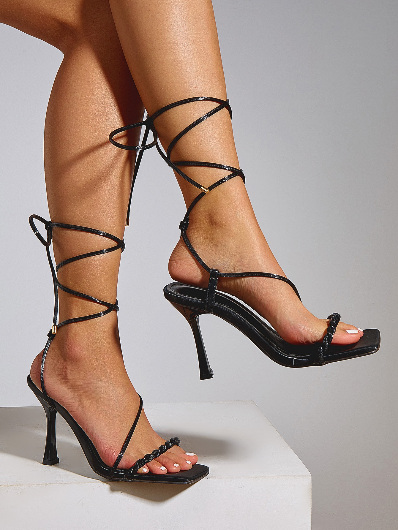 Tie Leg Braided Stiletto Heeled Sandals thumbnail