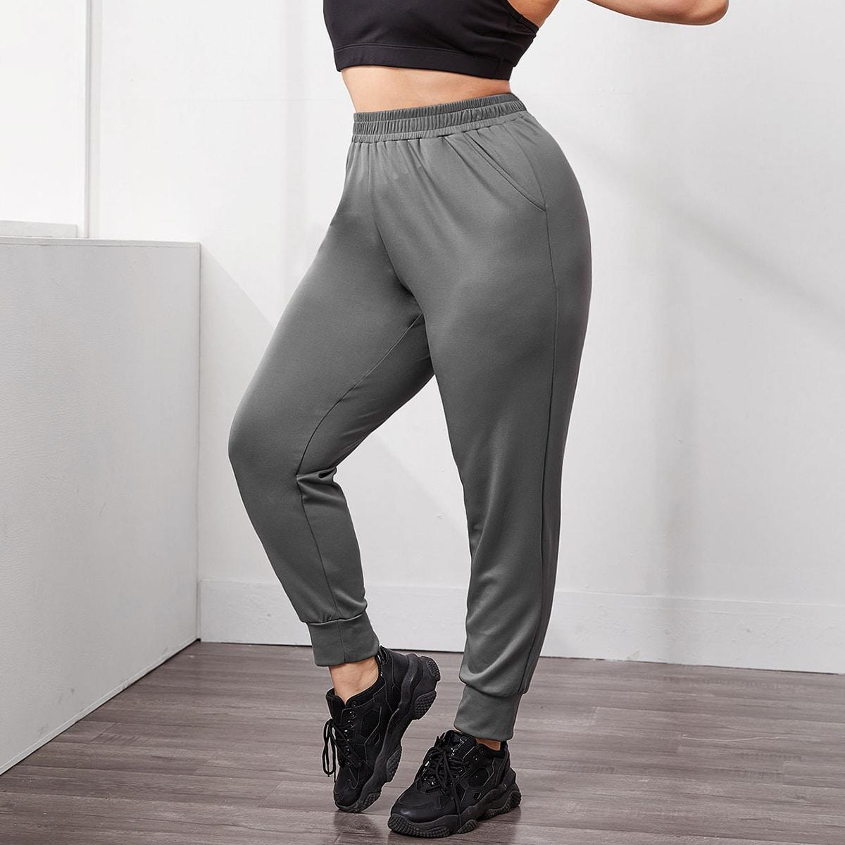 Плюс наклонные карманные спортивные спортивные спортивные штаны