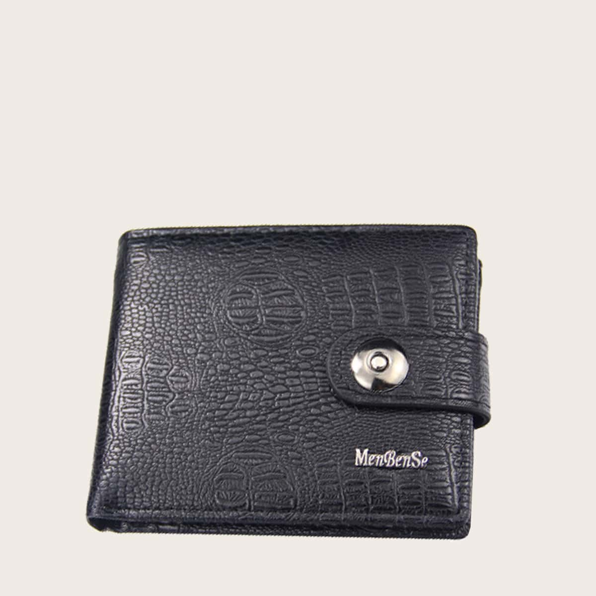 Men Snap Button Fold Over Small Wallet, SHEIN  - buy with discount
