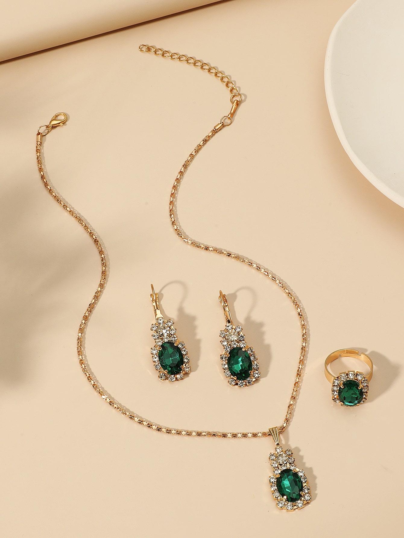 4pcs Rhinestone Decor Jewelry Set thumbnail