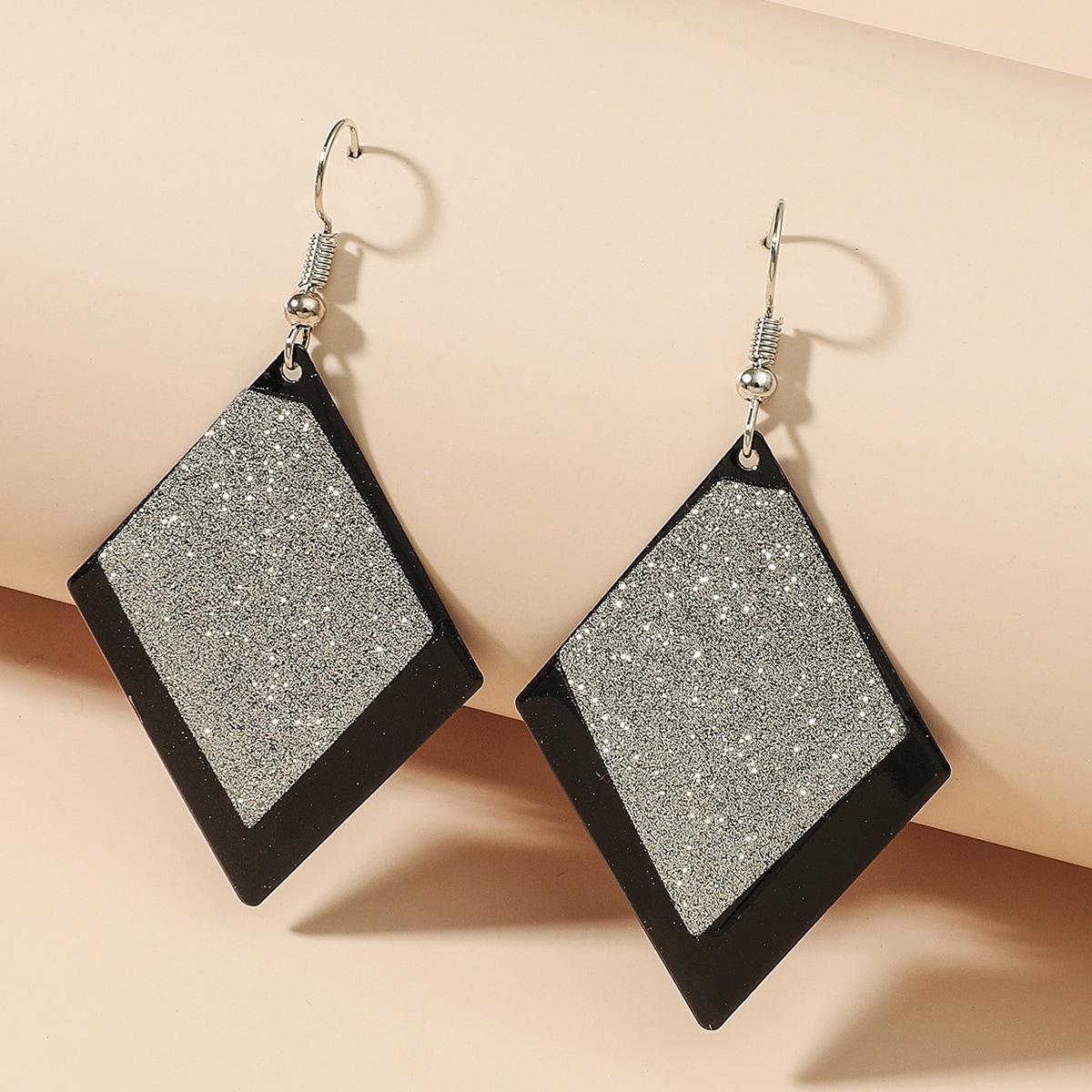Glitter Rhombus Earrings, SHEIN  - buy with discount