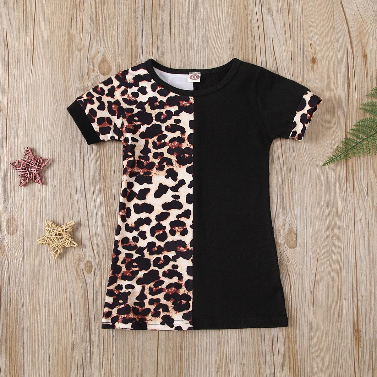 для девочек Платье-футболка Контрастный от SHEIN
