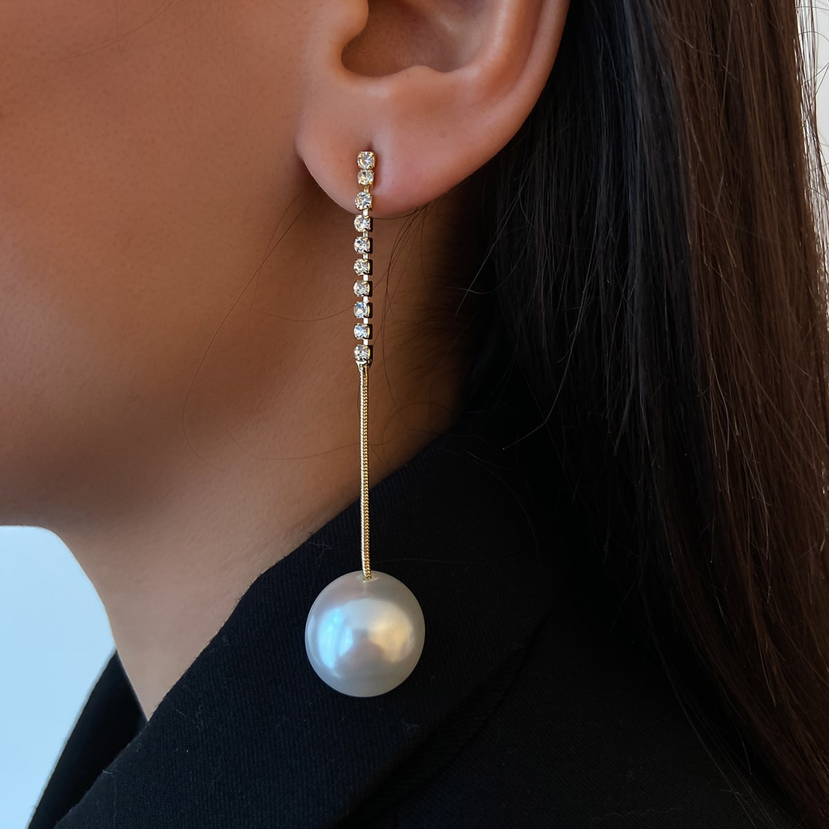 Rhinestone Decor Faux Pearl Drop Earrings, SHEIN  - buy with discount