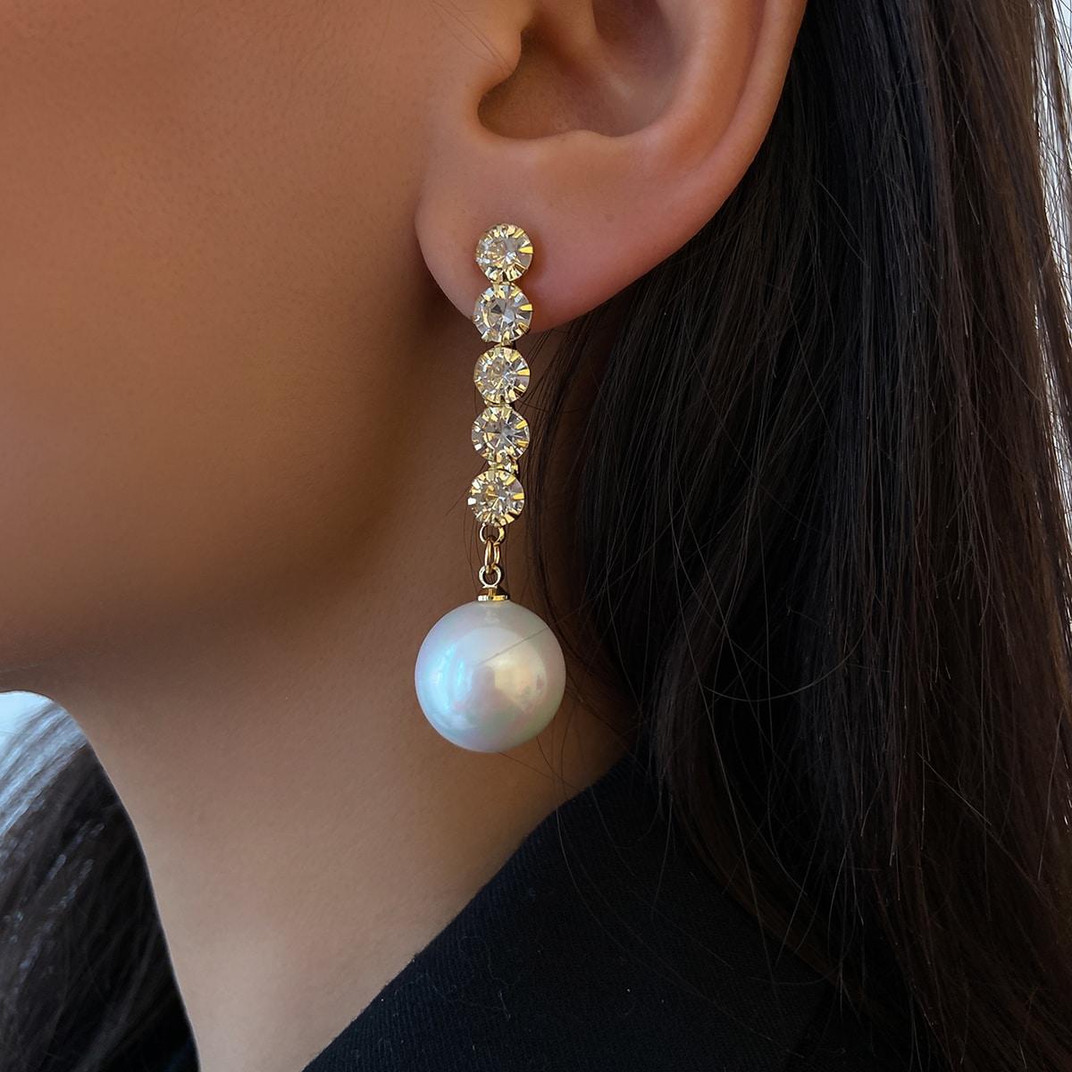 Rhinestone Decor Faux Pearl Drop Earrings