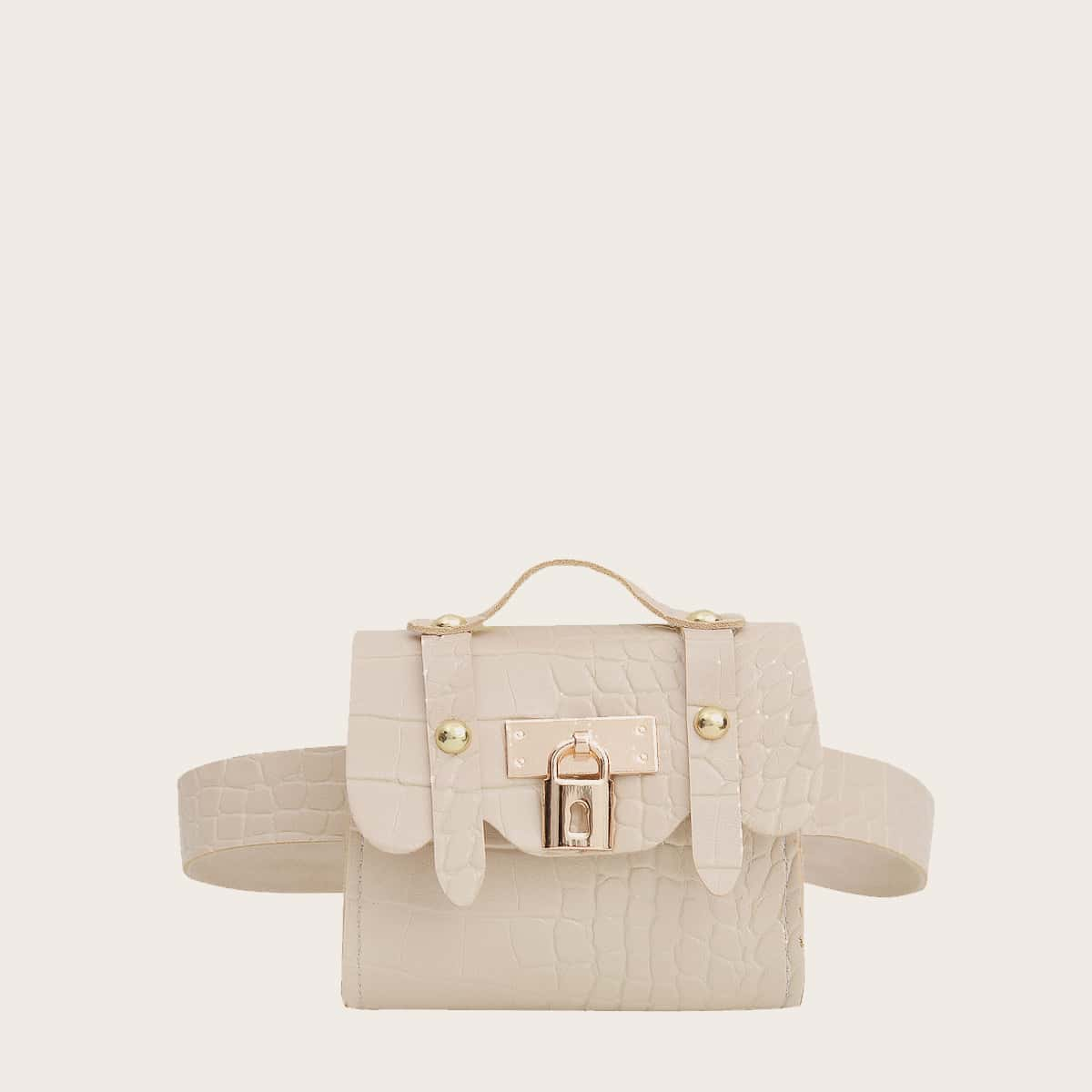 Girls Croc Embossed Lock Decor Flap Belt Bag, SHEIN  - buy with discount
