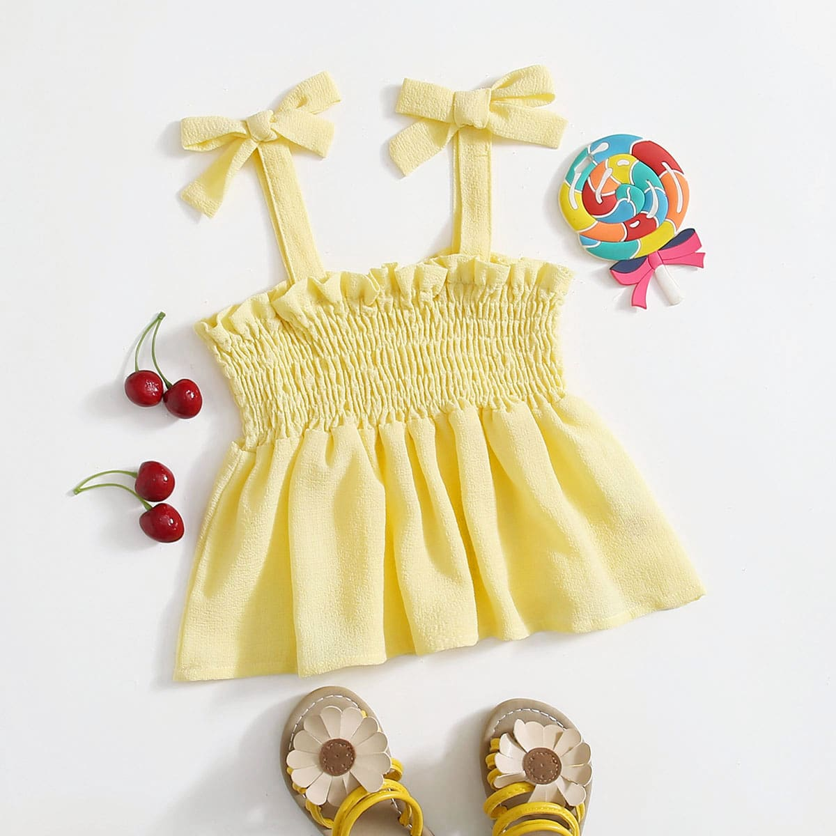 Топ со складками и узлом для маленьких девочек по цене 570